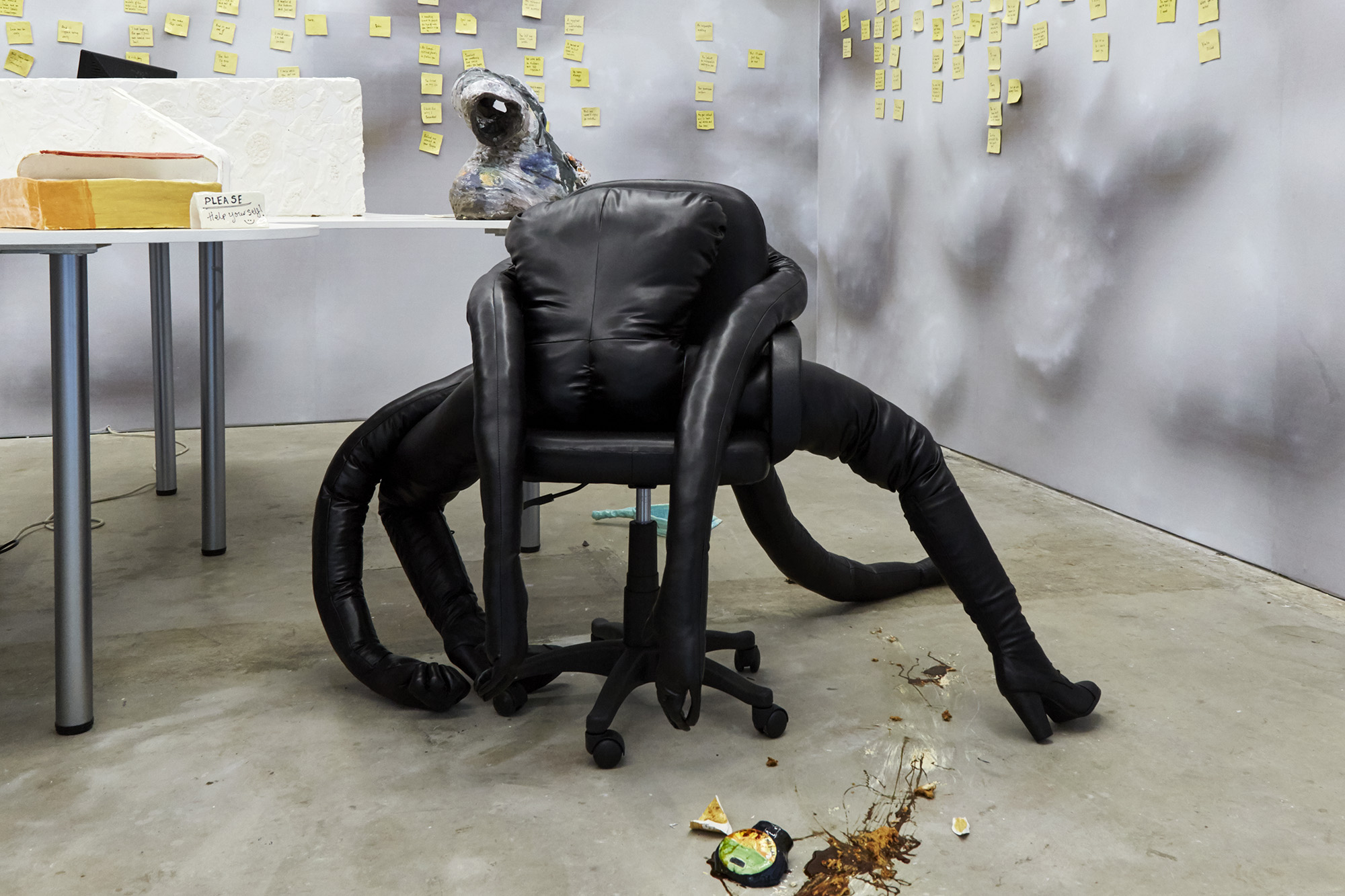 I've got you (made in collaboration with Mamoo Mendick) Leather, boots, filling, office chair 100 x 160 x 150cm, 2019