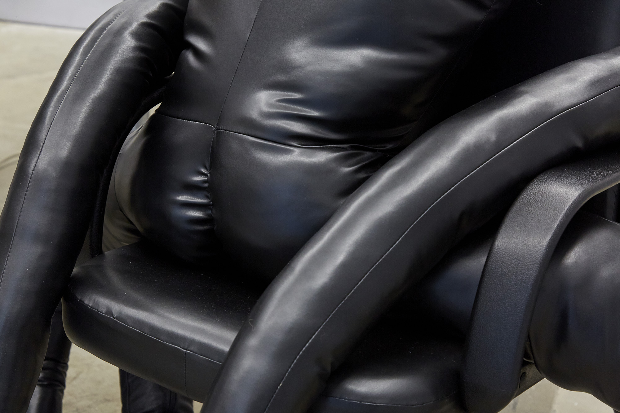 I've got you (made in collaboration with Mamoo Mendick) - detail Leather, boots, filling, office chair 100 x 160 x 150cm, 2019