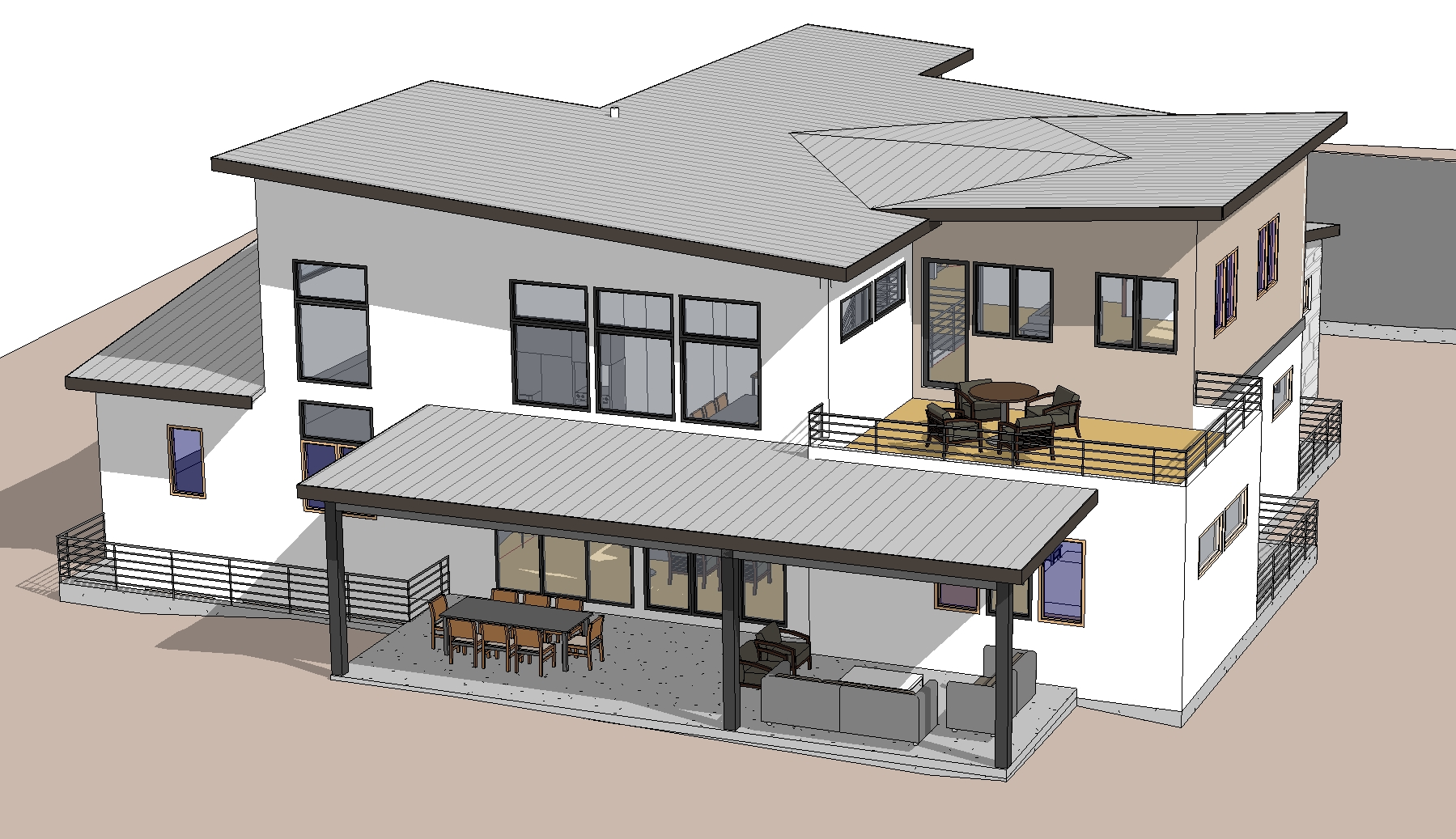 Pritchard Residence4 - 3D View - REAR ABOVE.jpg
