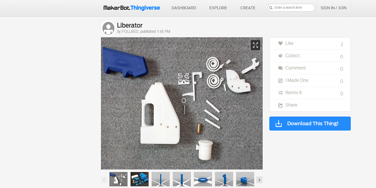 O arquivo da Liberator foi removido do site Thingiverse em poucos minutos.