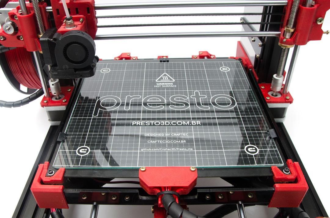 Mesa aquecidaPrestoBED MK-I - Volume de impressão: 250x230x240mm (XxYxZ)Módulo de expansão: permite usar maior corrente para aumentar a velocidade de aquecimento da mesa)