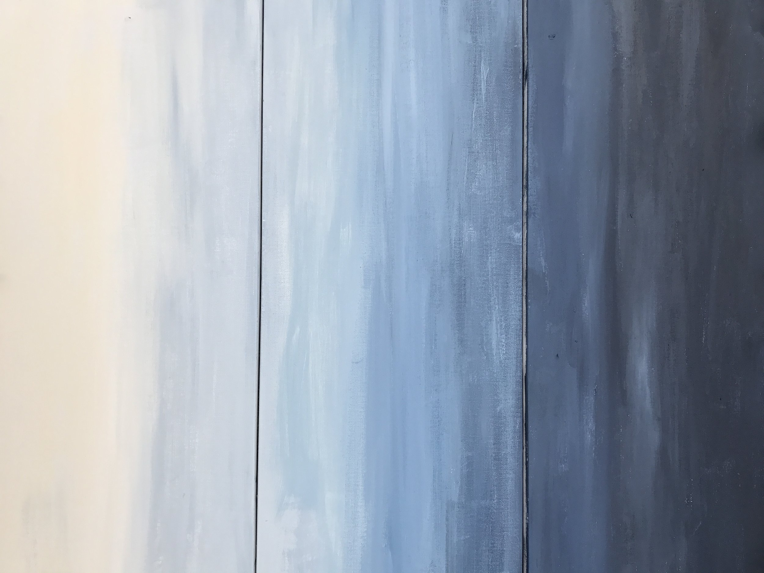 A vertical shot of the three canvases. It reminds me of a moody and stormy day at sea!
