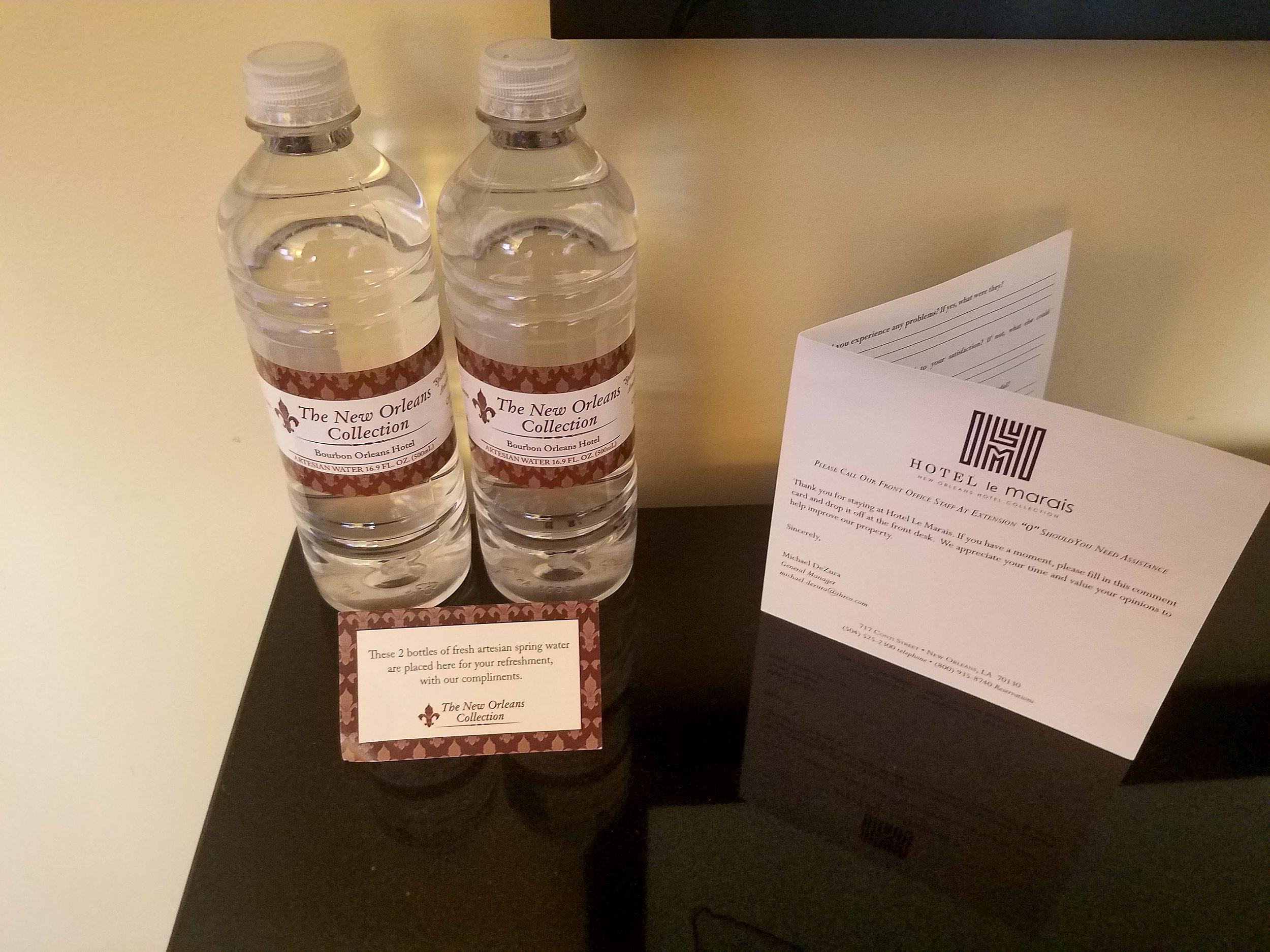 complimentary-water-bottles-hotel-le-marais-new-orleans-louisiana