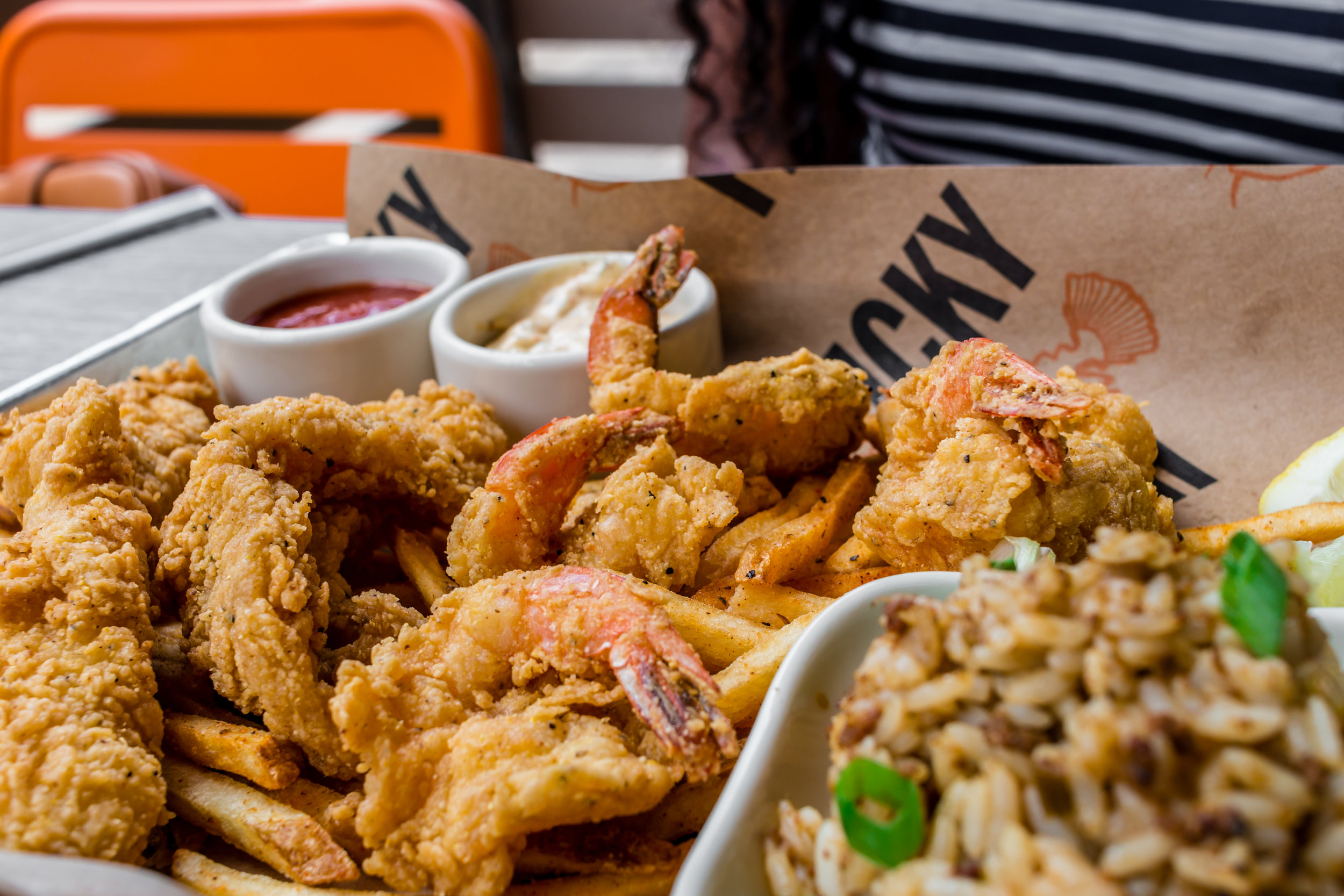 Fried Catfish and Shrimp with Dirty Rice
