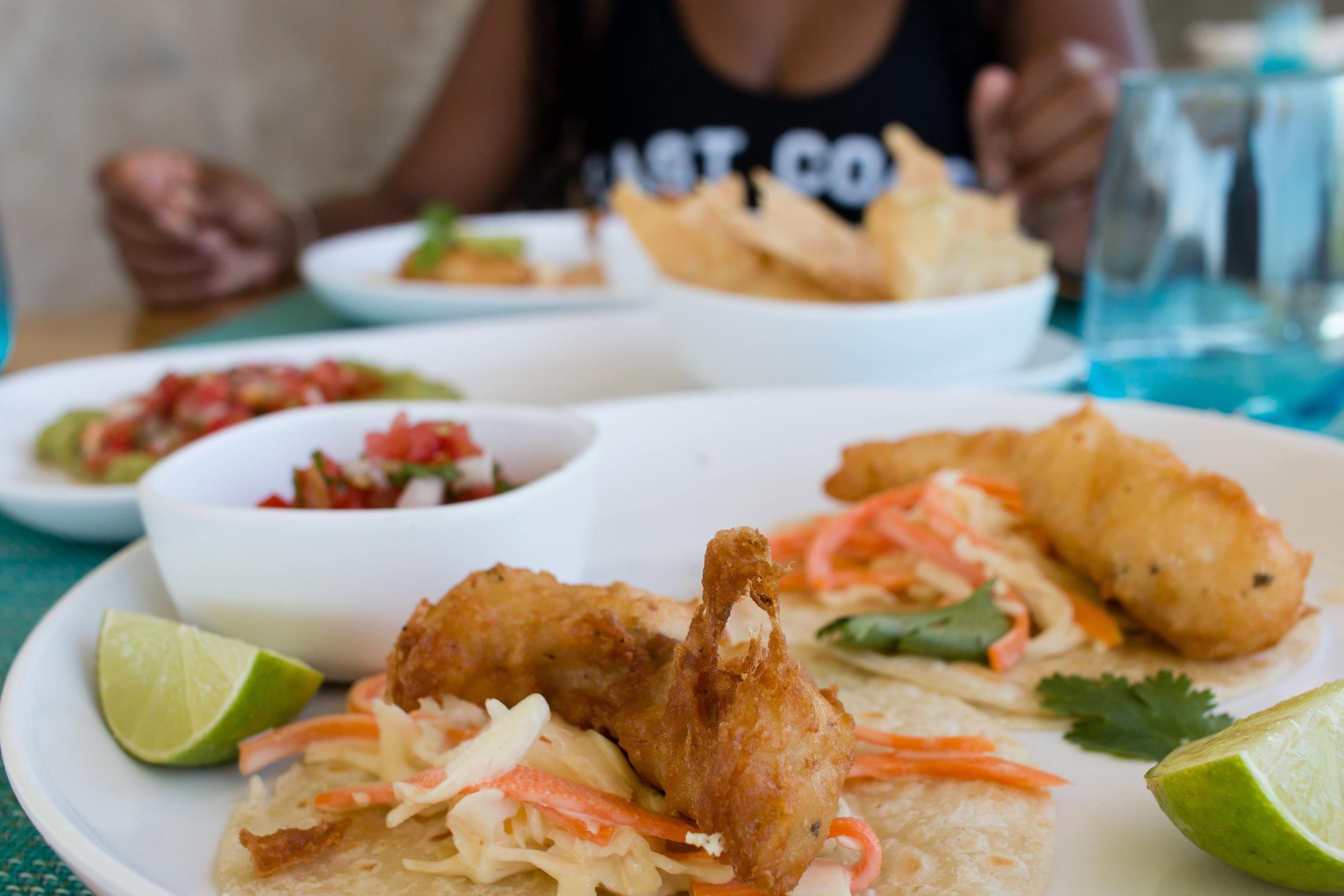 Fried Sea Bass Fish Tacos