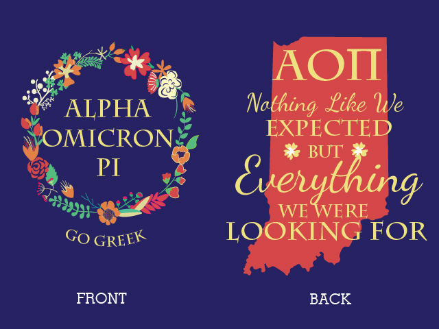 For the beginning of the school year, Alpha Omicron Pi (AOII) comes out with a PR tank to promote their sorority before recruitment. Using a similar design, I traced a few of the flowers to create a floral ring and created a completely custom back of these tank tops.