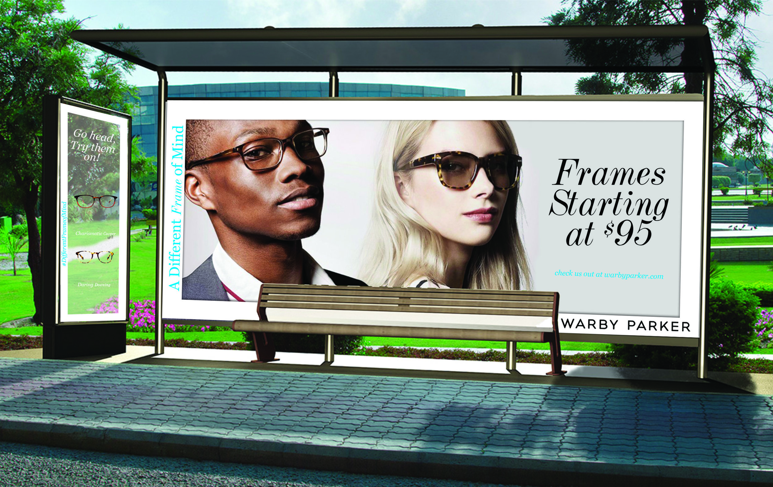 "Through two class projects I have developed a serious crush on the Warby Parker eyewear. As this brand continues to grow and expand its brick and mortar locations, It was essential to drive people to their new locations. My team and I took advantage of bus stops and buses that were on route to Warby Parker locations. Our target audience are busy bee's that travel to big cities for work. While they wait at these bus stops, they are able to step behind the glass and place their face behind the frontal view frames to ""try-on"" a pair of Warby frames."
