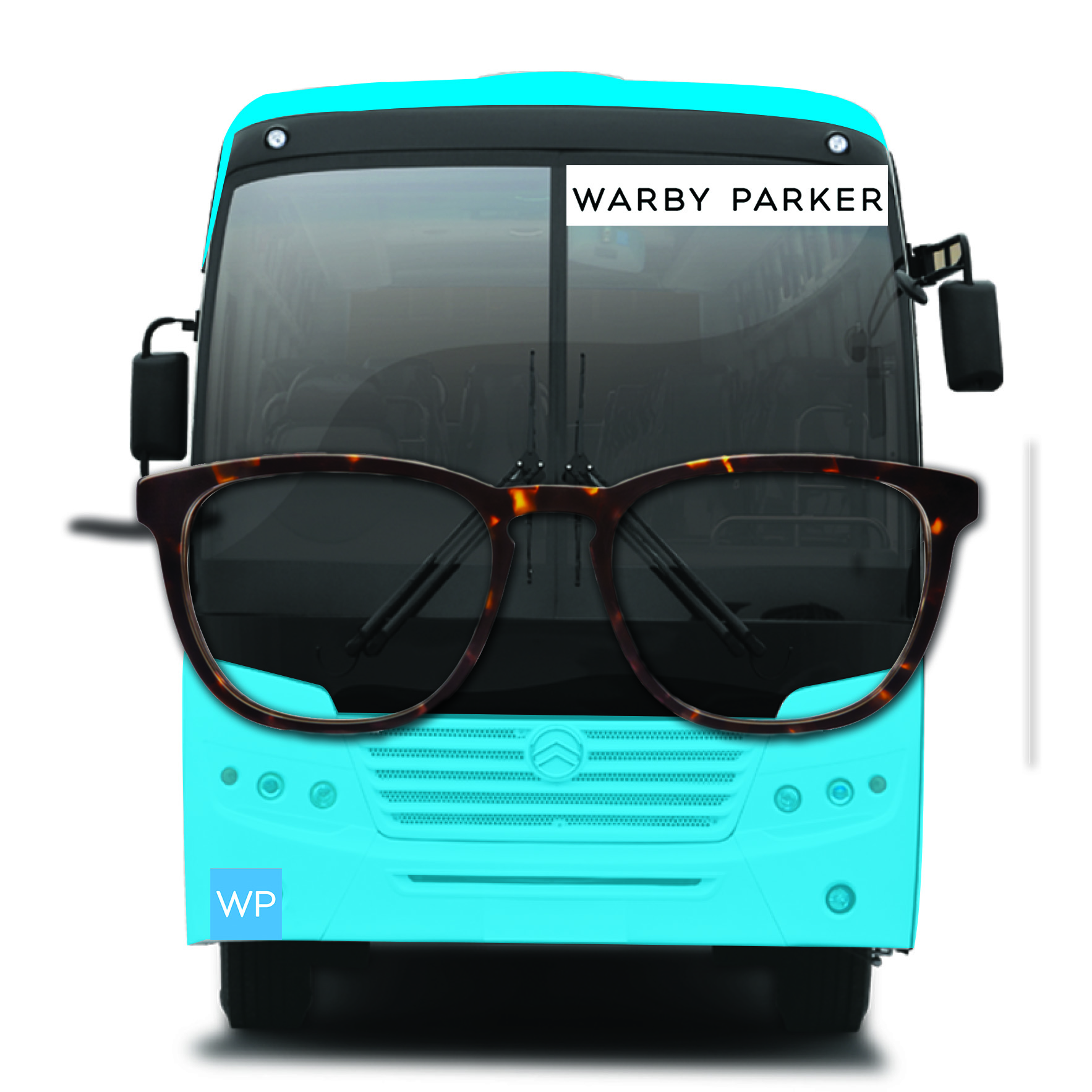 Frontal view of Warby Bus wrap that stops at the Warby branded bus stops.
