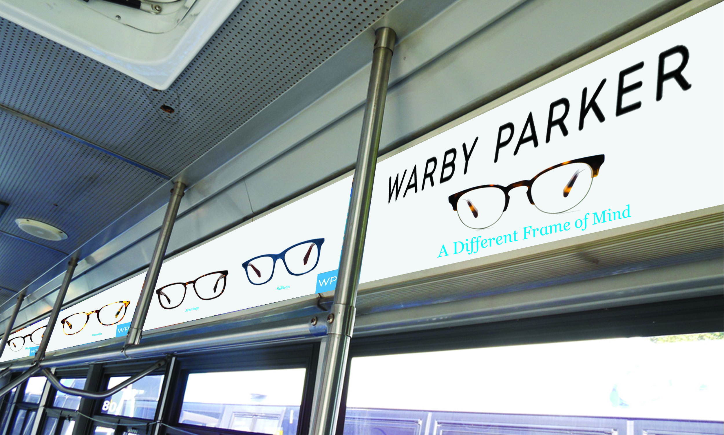 Within the Warby Parker wrapped bus, will also be decked out in the Warby frames.