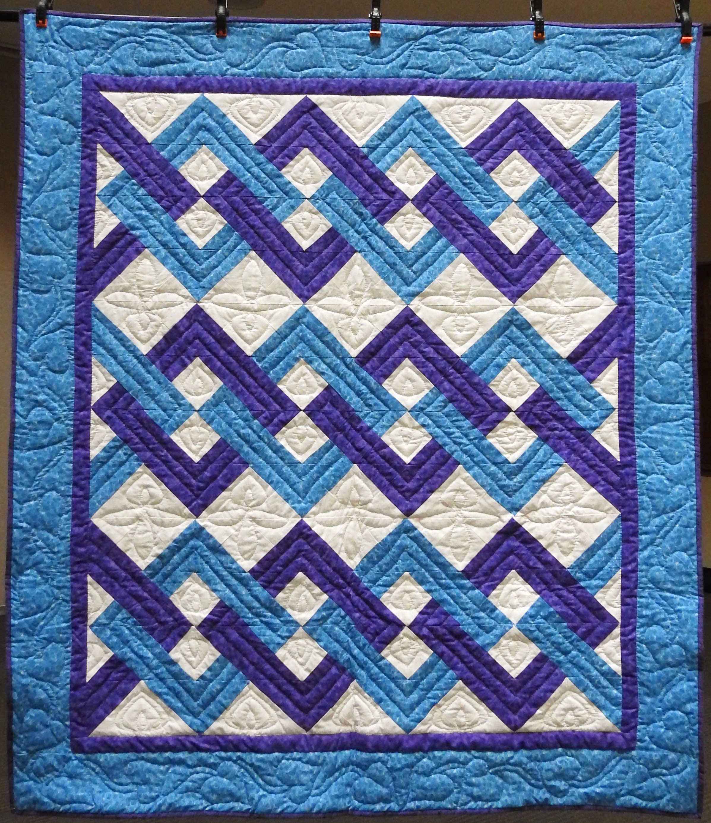 Interlocking Squares, Pieced, Hand Quilted by Evergreen Quilters, Anonymously donated, 58 x 64""