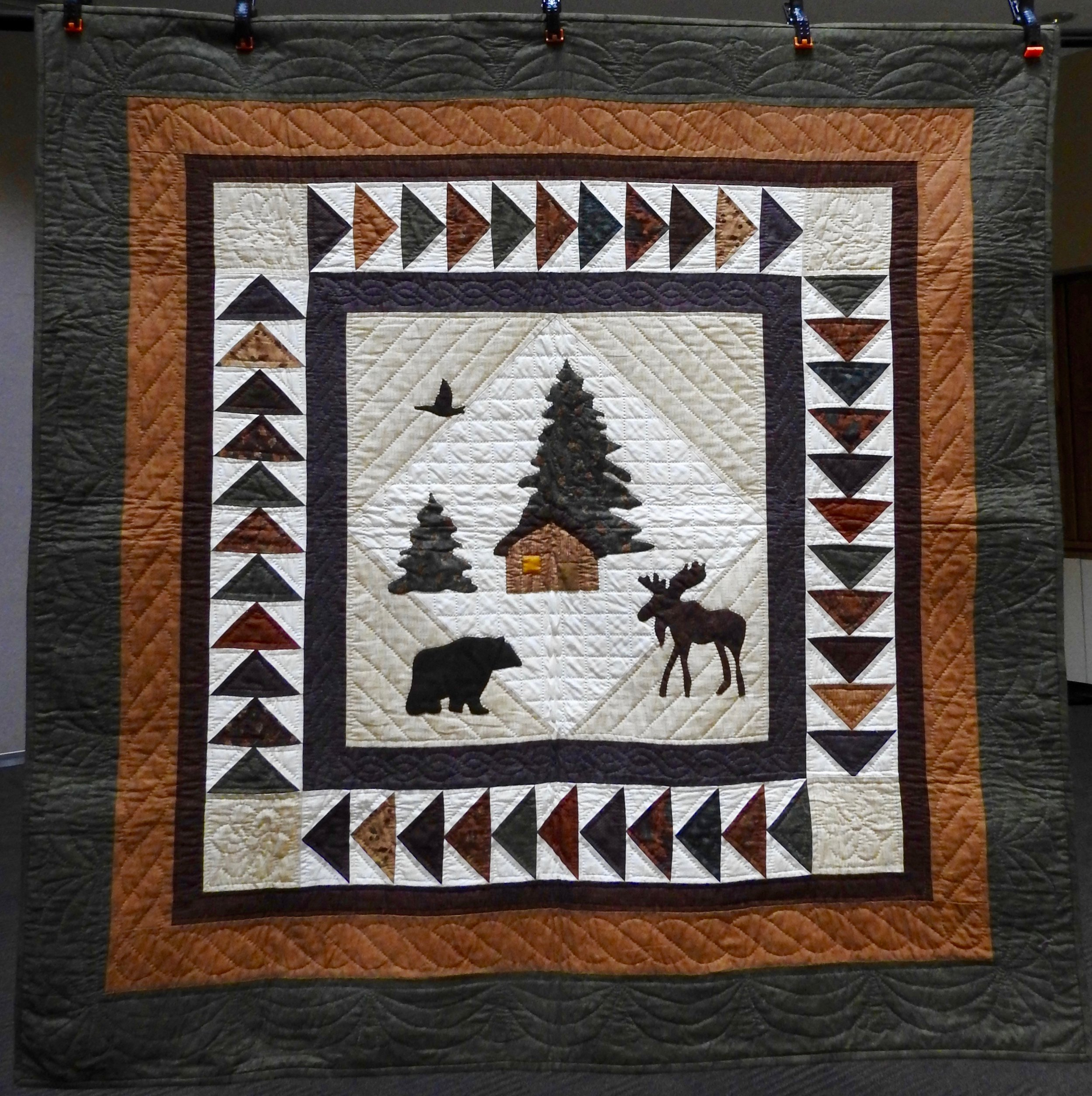 Rustic Cabin, Pieced, Appliquéd, Hand Quilted, donated by Ann Marie Gebbart, 54 x 54""