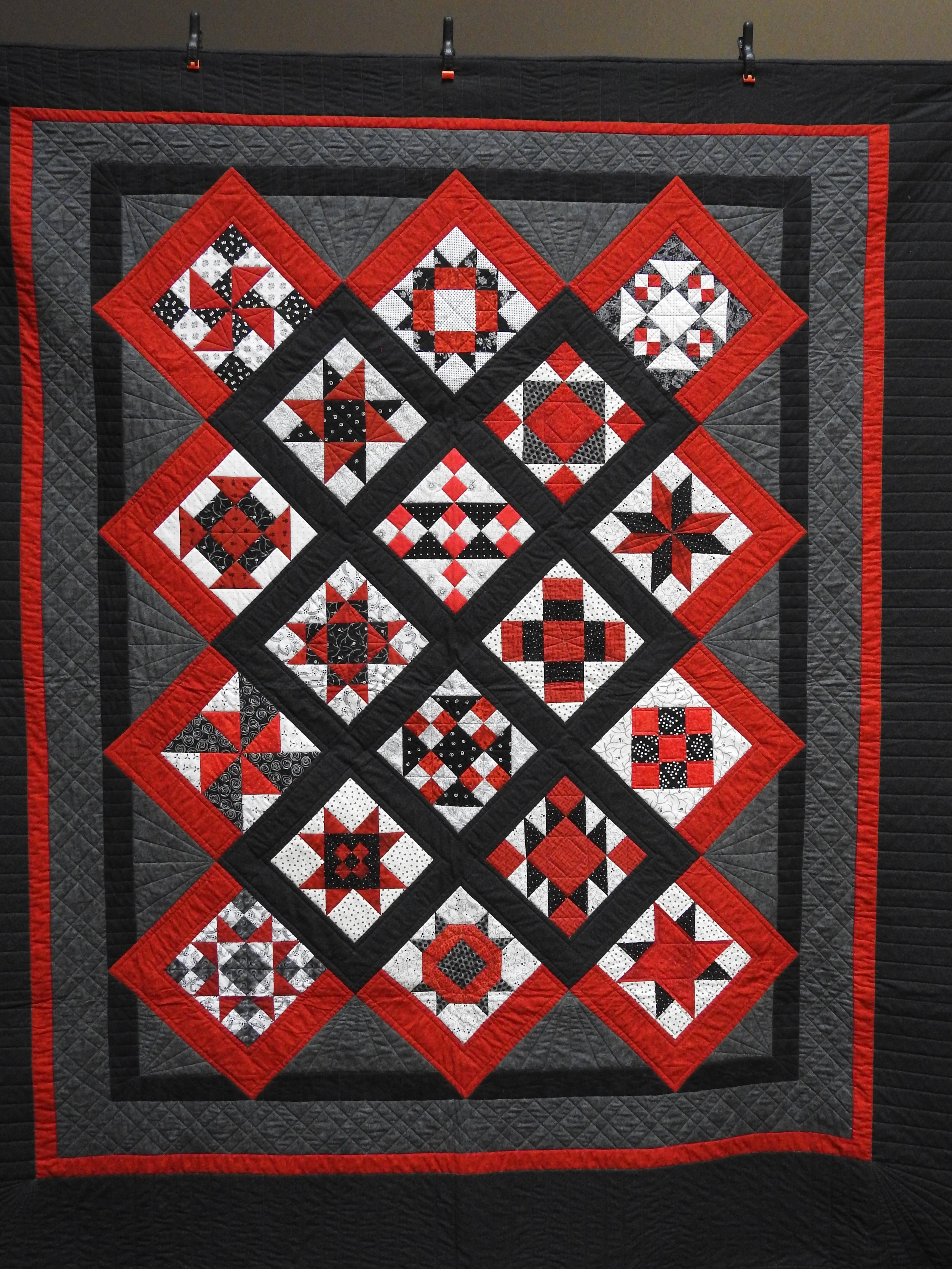Sampler in Red & Black, Pieced, Custom Machine Quilted, Anonymously donated, 86 x 92""