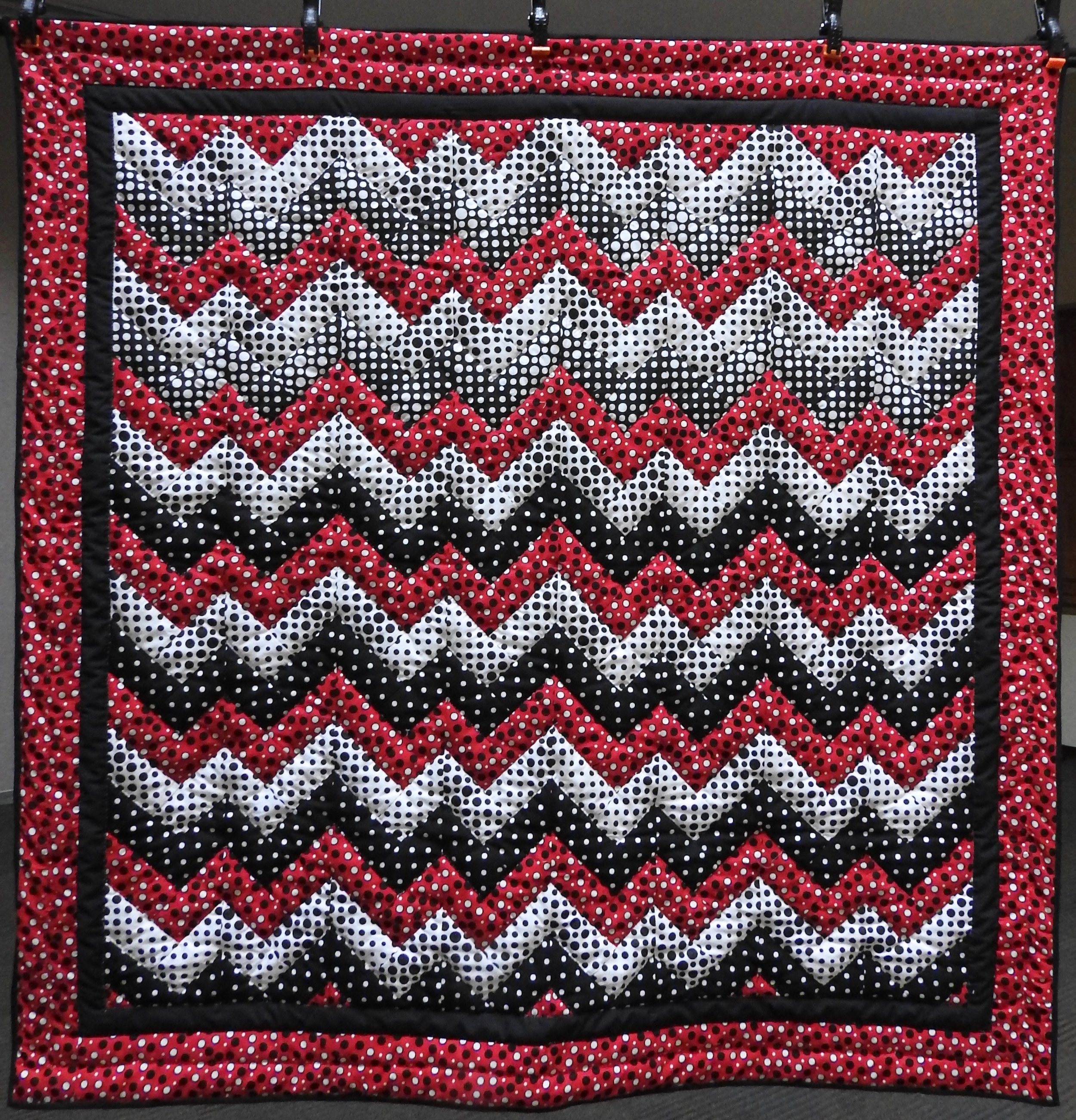A Zig and a Zag, Pieced, Hand Quilted by Evergreen Place Quilters, donated Anonymously, 54 x 56""