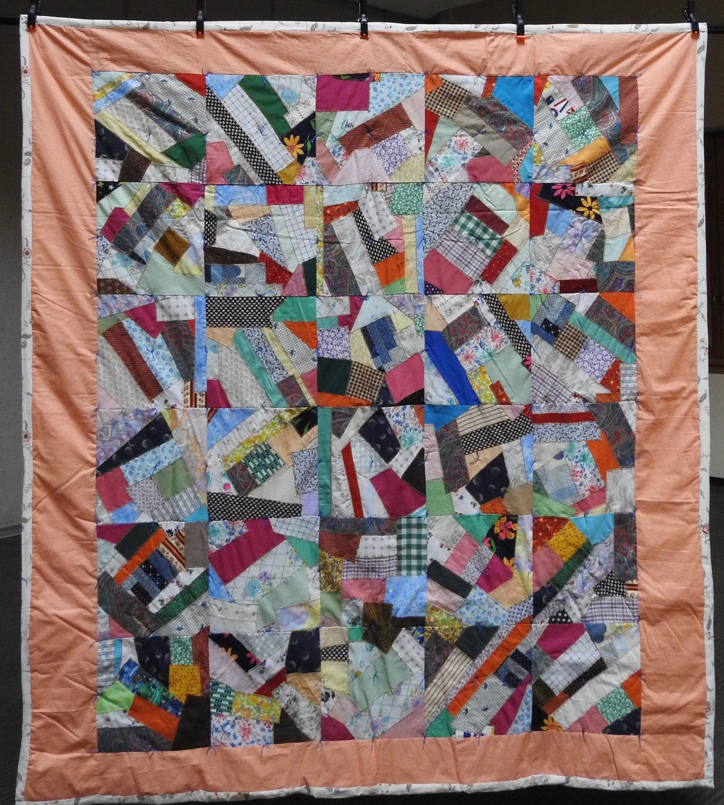 Crazy Blocks-Comforter, Pieced & Knotted, Donated Anonymously, 68 x 70""