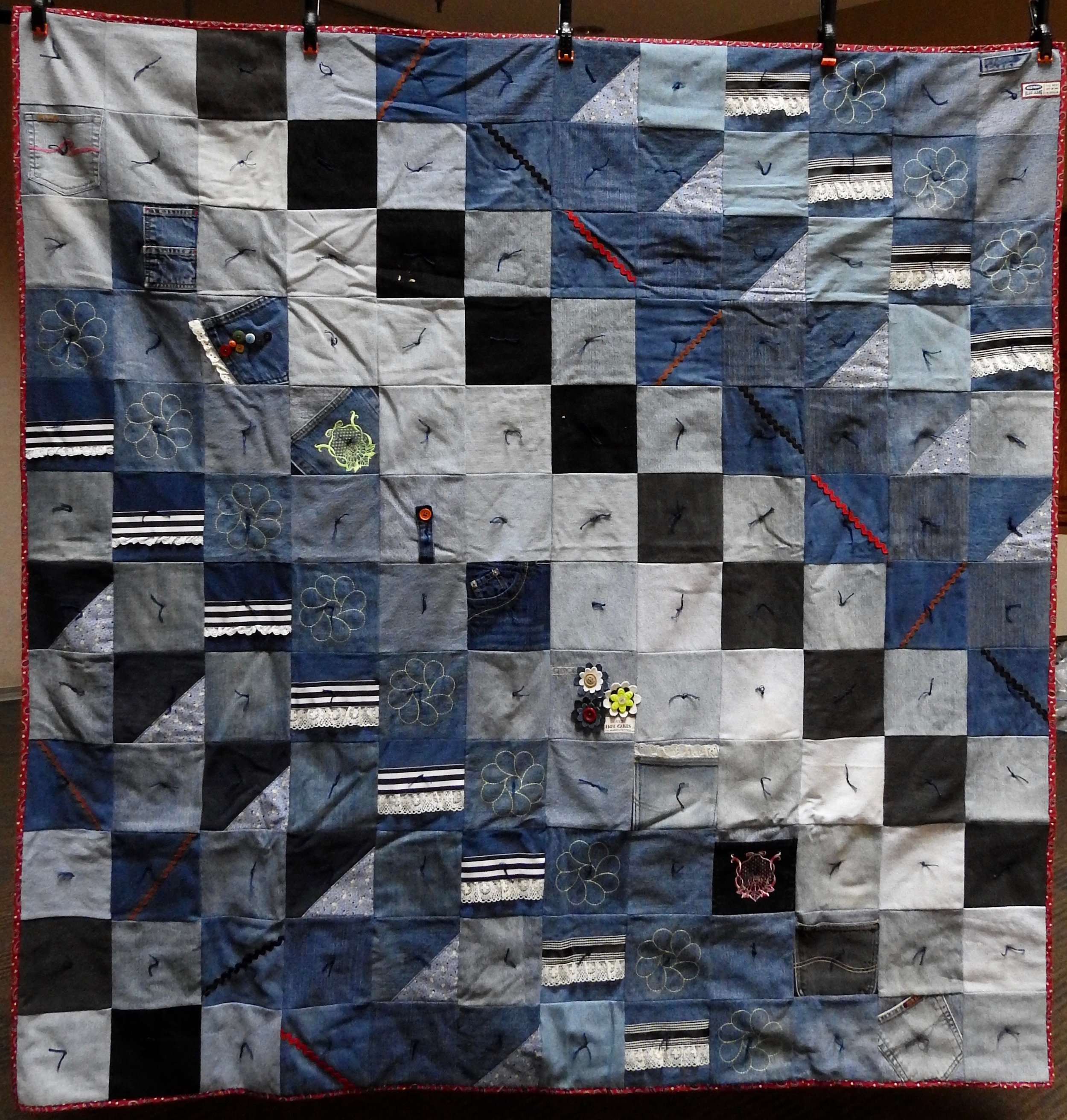 Embellished Denim Comforter, Pieced & Knotted, donated Anonymously, 66 x 67""