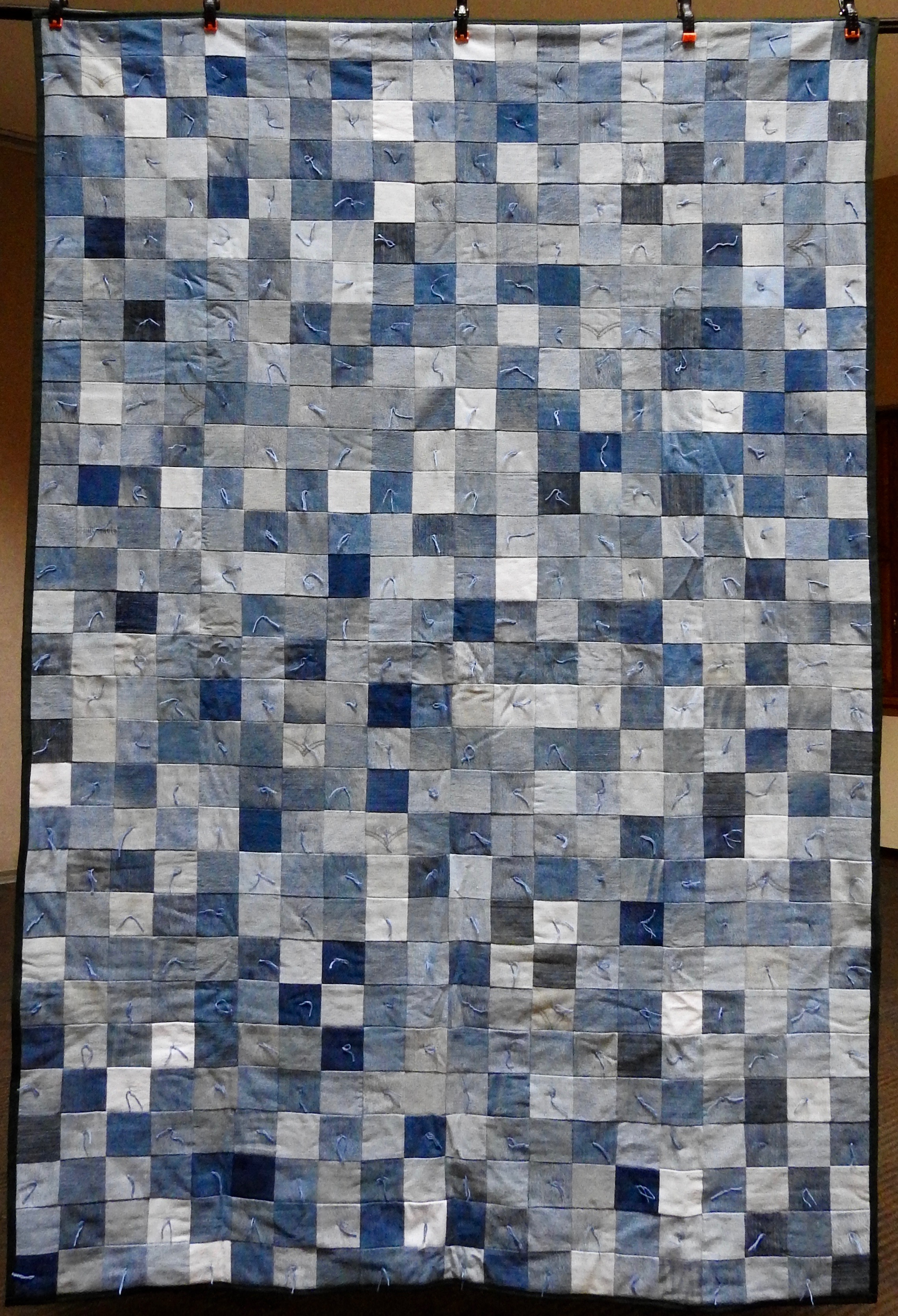 Three Inch Denim Squares—Comforter, Pieced & Knotted, donated Anonymously, 66 x 86