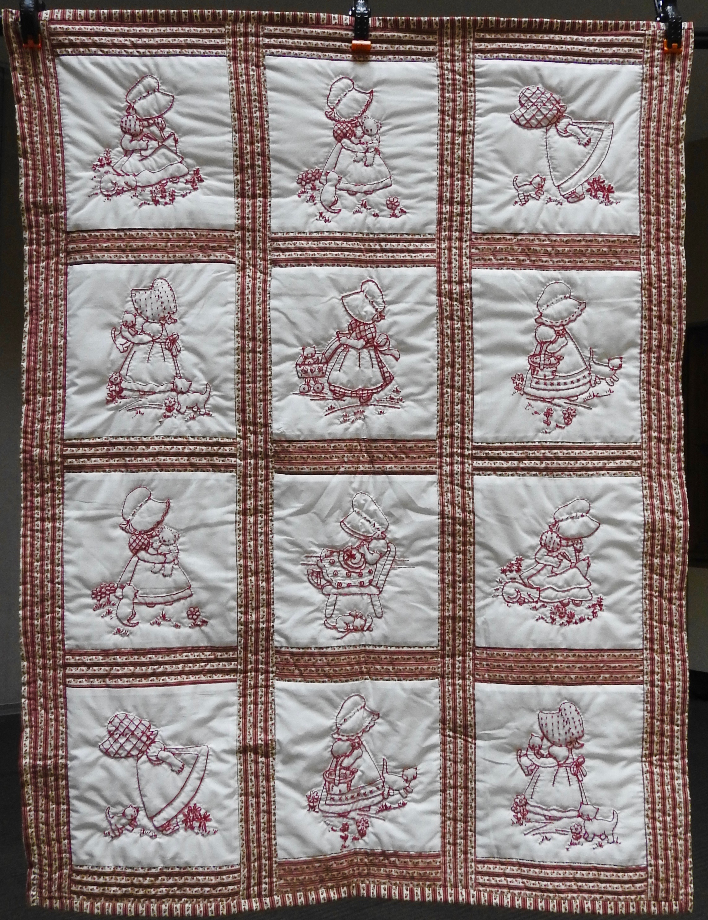 Sunbonnet Sue, Pieced & Embroidered, Hand Quilted by Susie Schlabach, 34 x 44""