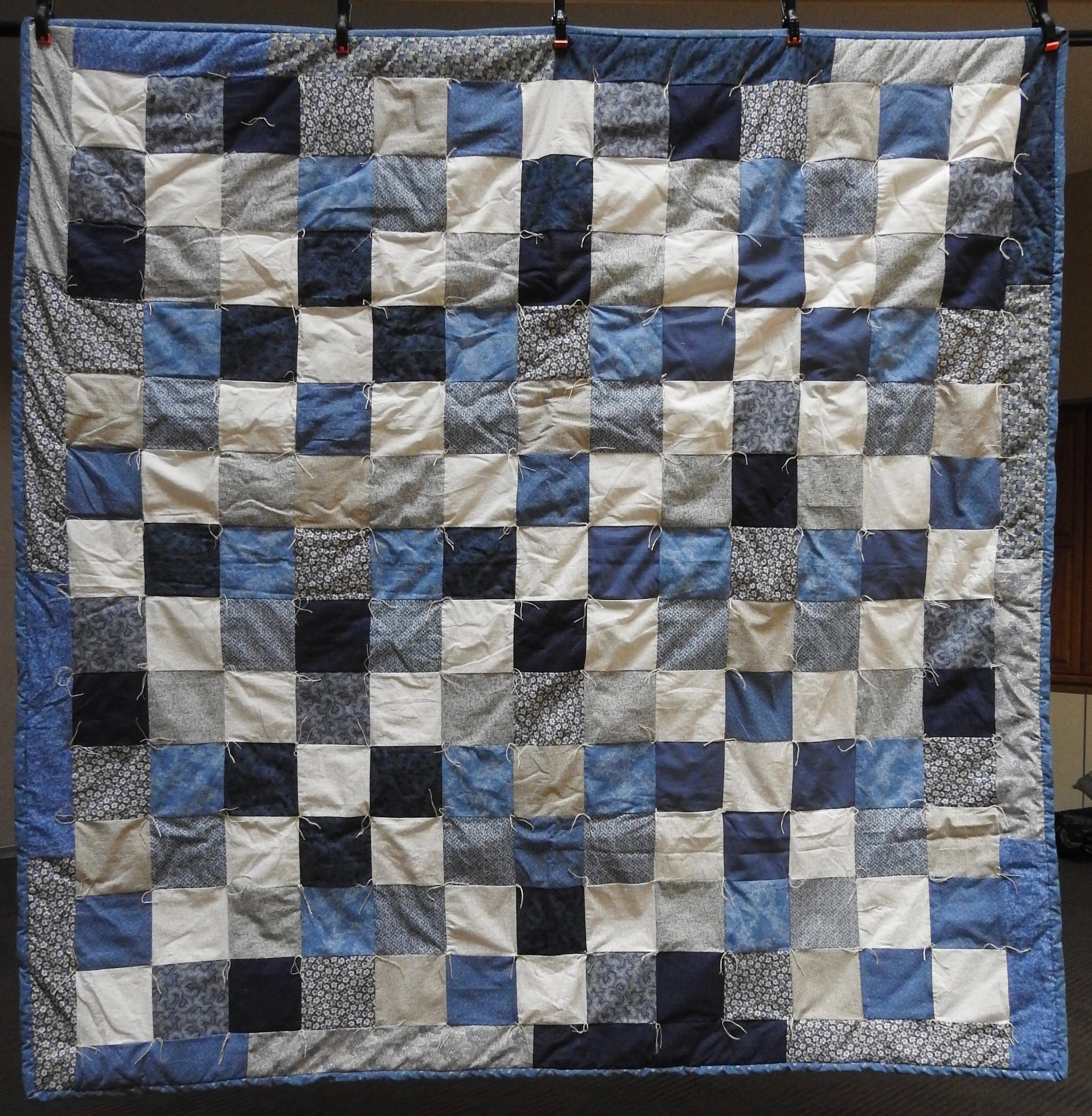 Blue Skies Comforter, Pieced & Knotted, donated by The Depot Quilt Room, 74 x 77""