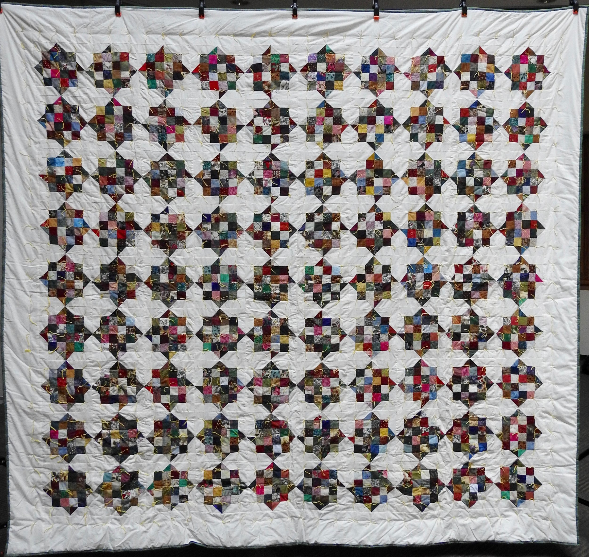 Sixteen Patch with Four Points Comforter, Pieced, Hand Knotted, Depot Quilt Room, 80 x 96""