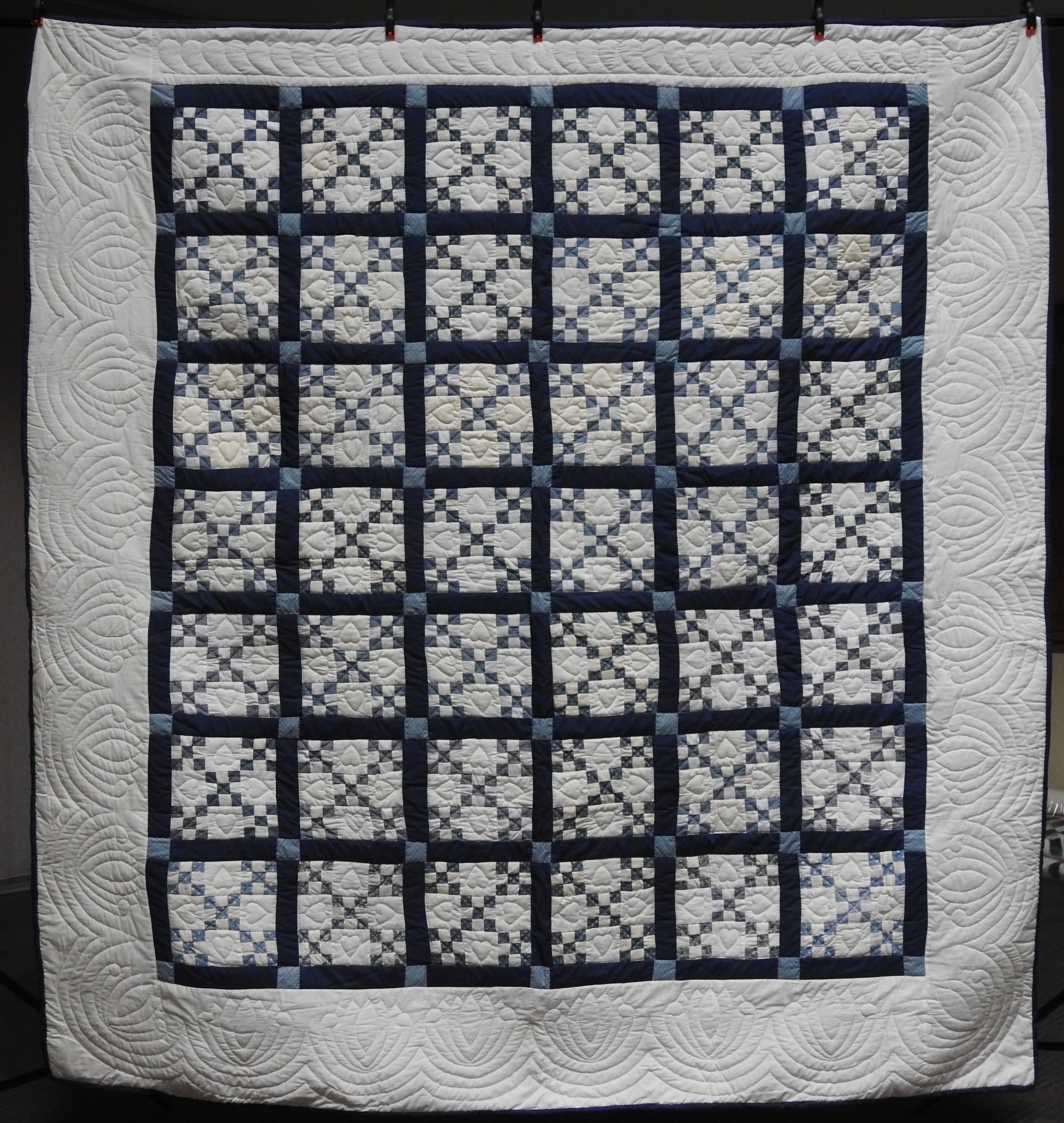 Double Nine Patch, Pieced, Hand Quilted, donated by Johanna Sutter, 93 x 97""