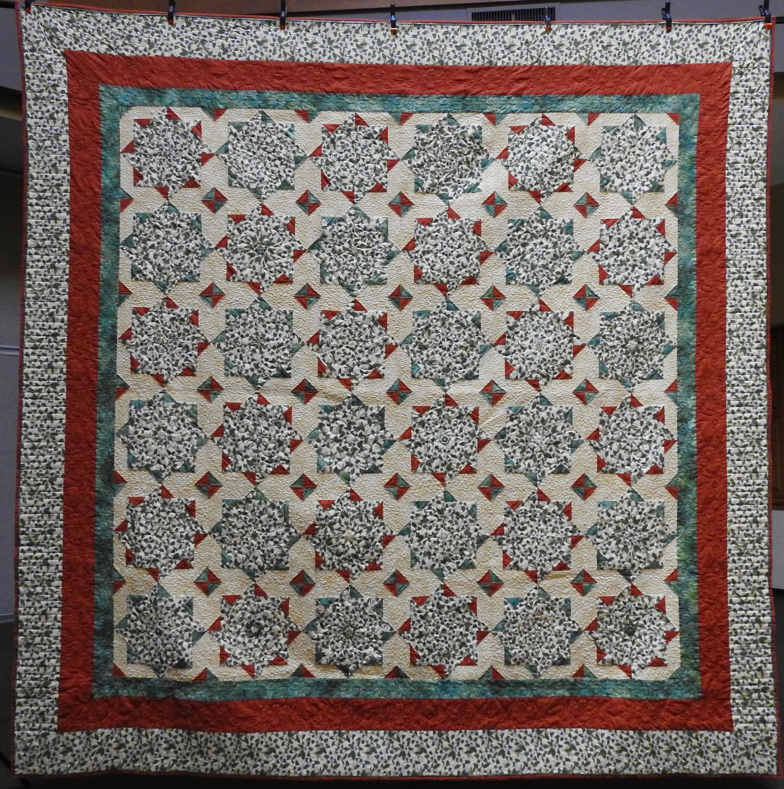 Whack 'n Stack, Pieced by Jean Mann Graber, Custom Machine Quilted, donated by the Cal Graber Family, 116 x 118""