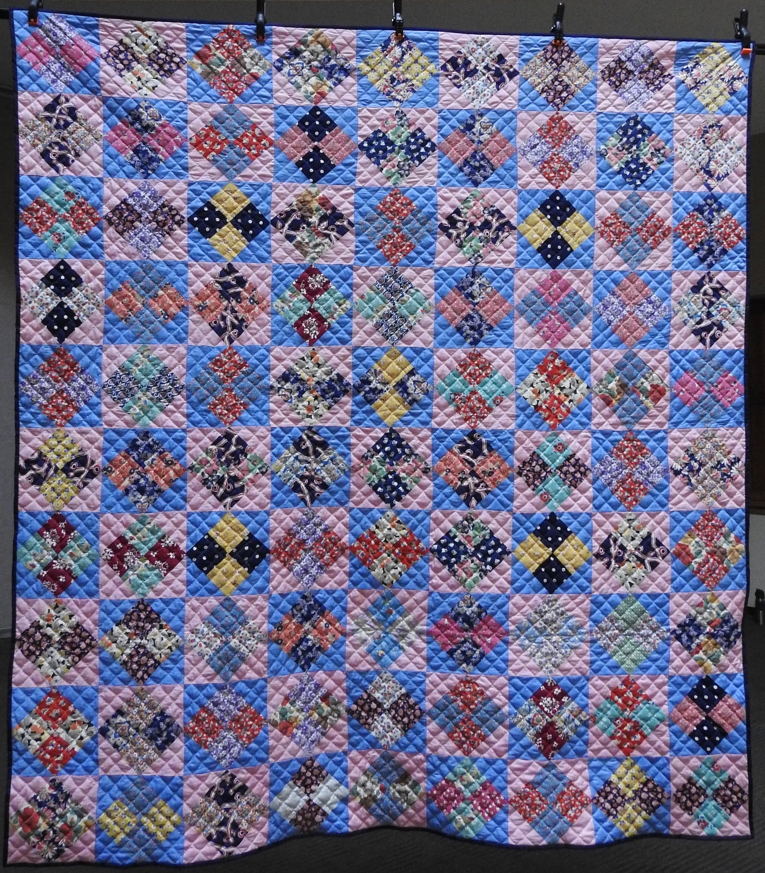 Vintage Four Patch on Point, Pieced of Vintage Fabrics, Hand Quilted by Evergreen Place Quilters, donated Anonymously, 68 x 88""