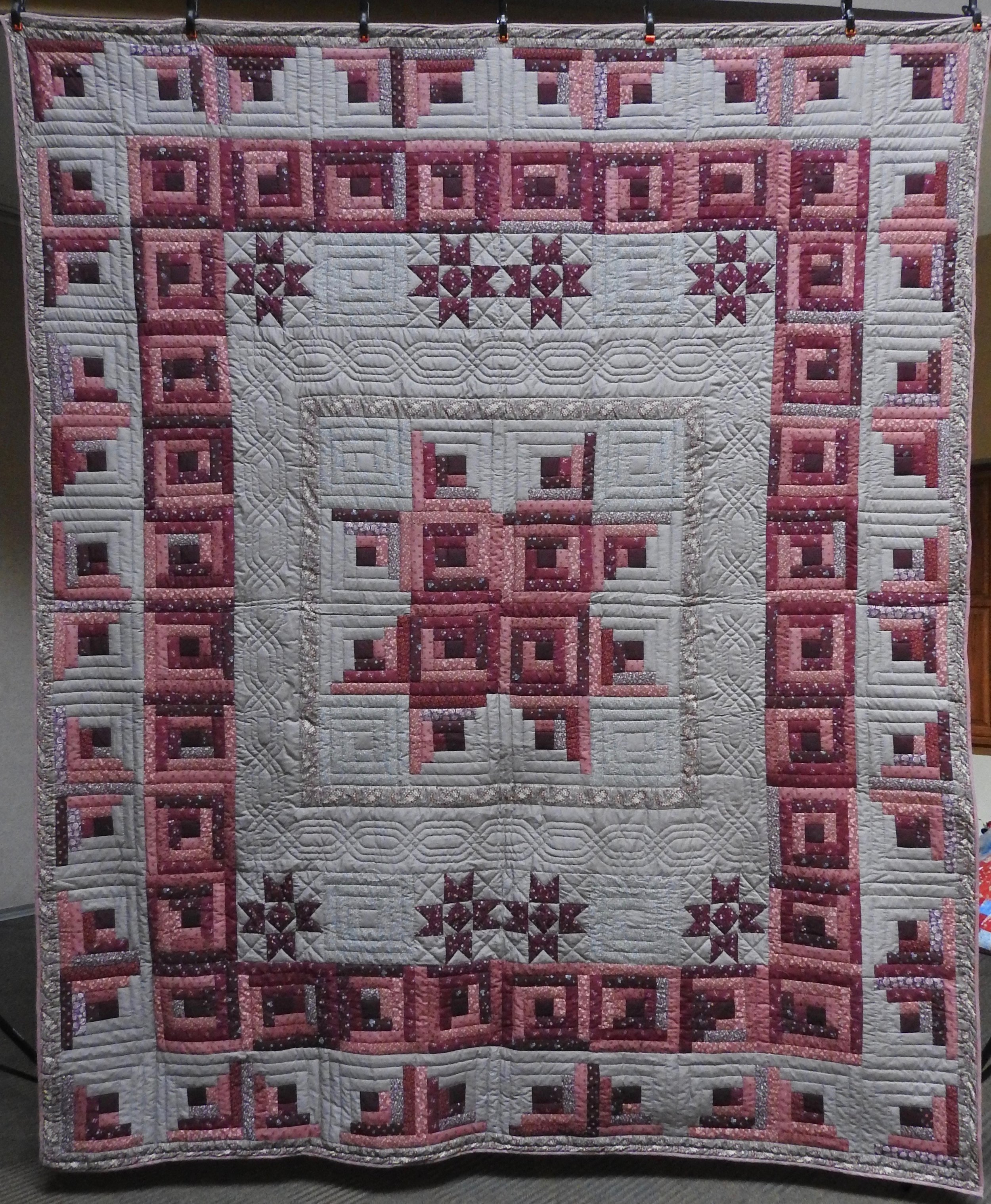 Stars over the Log Cabin, Pieced, Hand Quilted, donated by The Depot Quilt Room, 96 x 113""