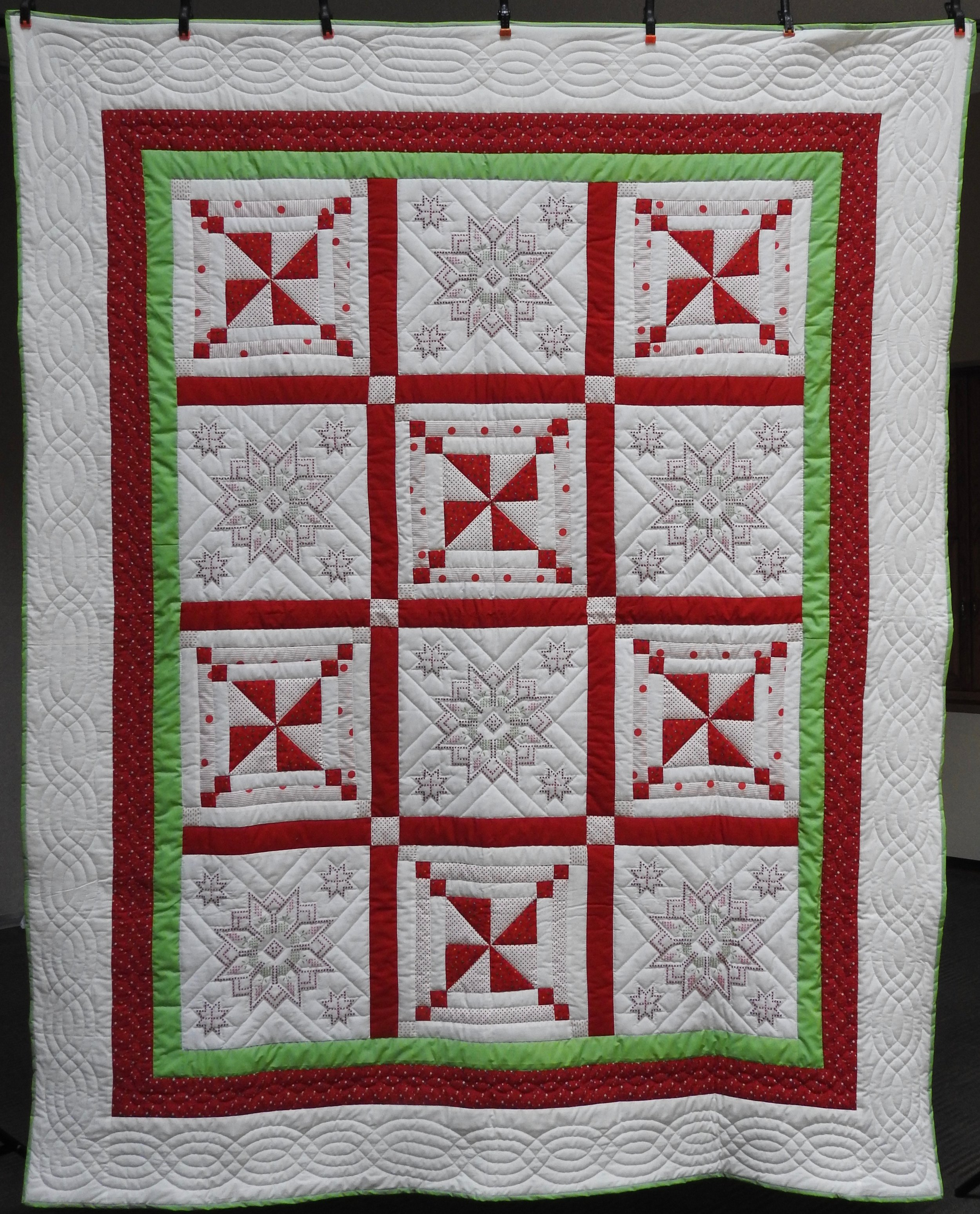 Stars & Pinwheels, Pieced, Hand Embroidered, Hand Quilted, donated Anonymously, 78 x 96""