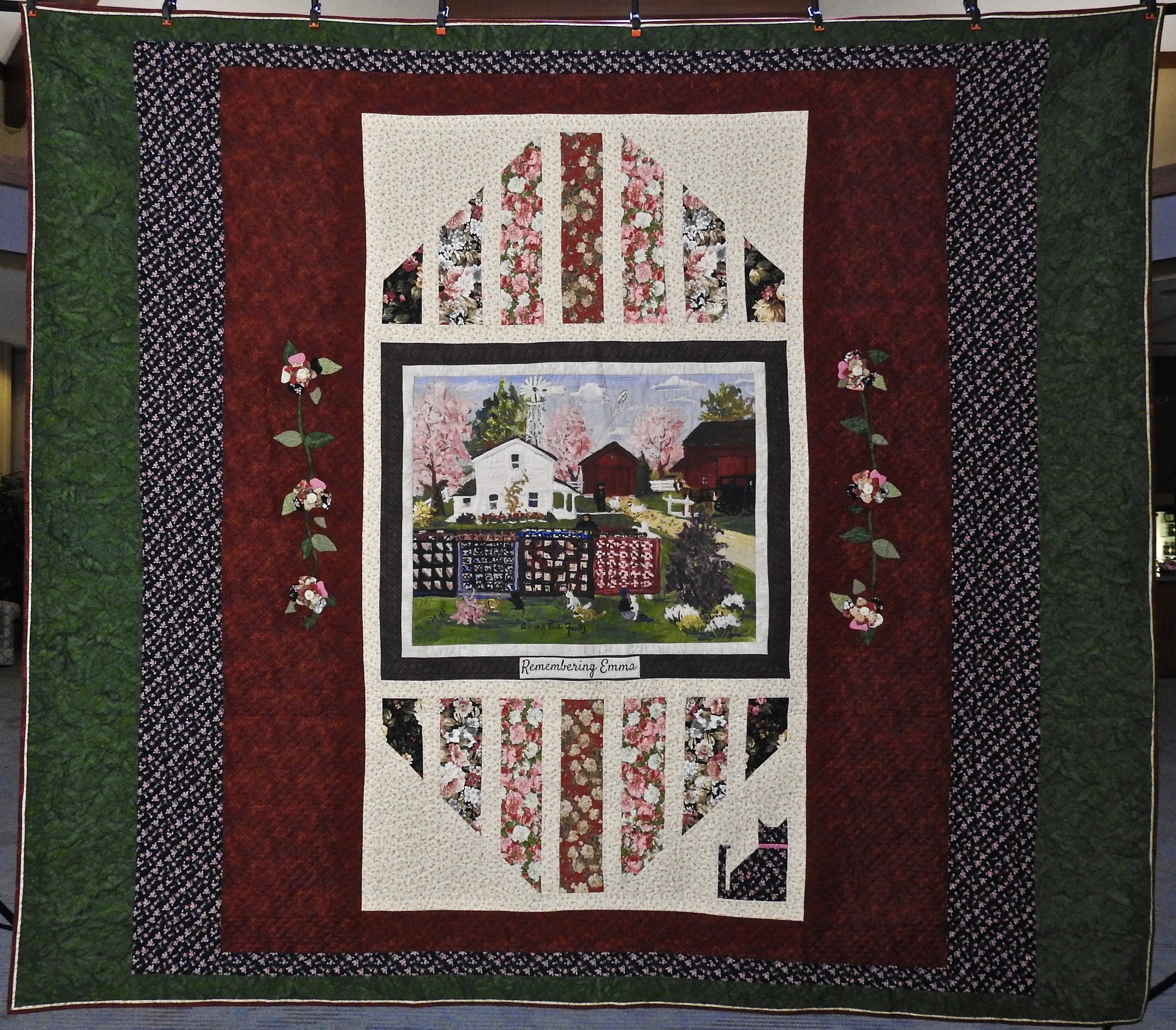 "Remembering Emma, Photo Transfer of Emma Schrock ""Airing the Quilts"" Painting, Designed by Robert Hershberger, Pieced & Appliquéd by Ellie Burton, Custom Machine Quilted,  102 x 116 """