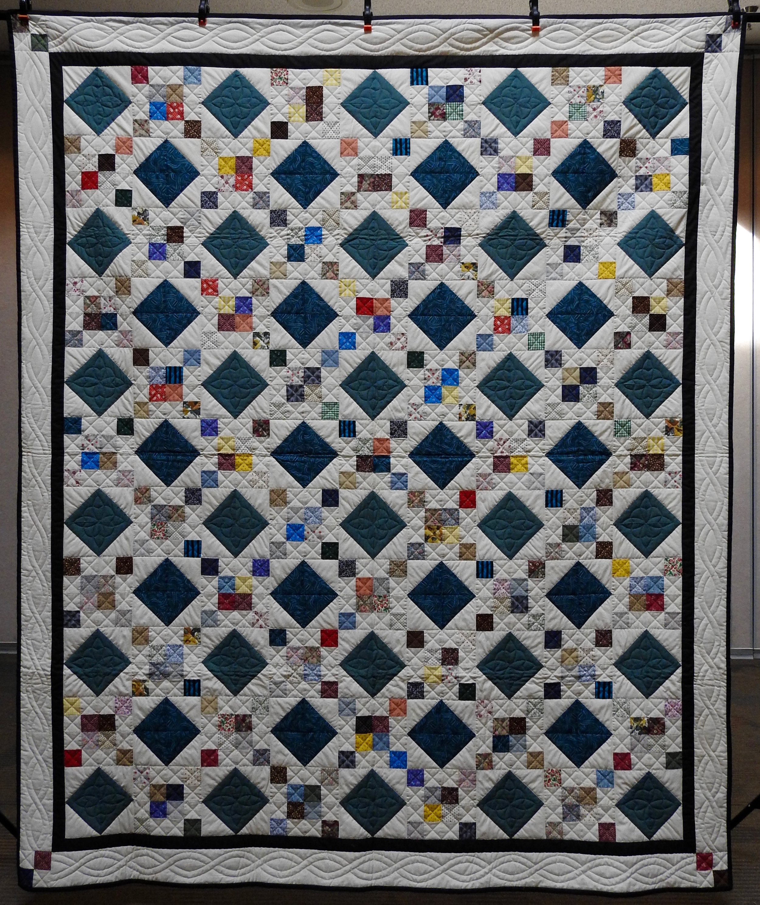 Jewel Box, Pieced & Hand Quilted by Isabel Leipprandt, Signed & Dated, donated by Wayne & Karen Moss, 82 x 99""