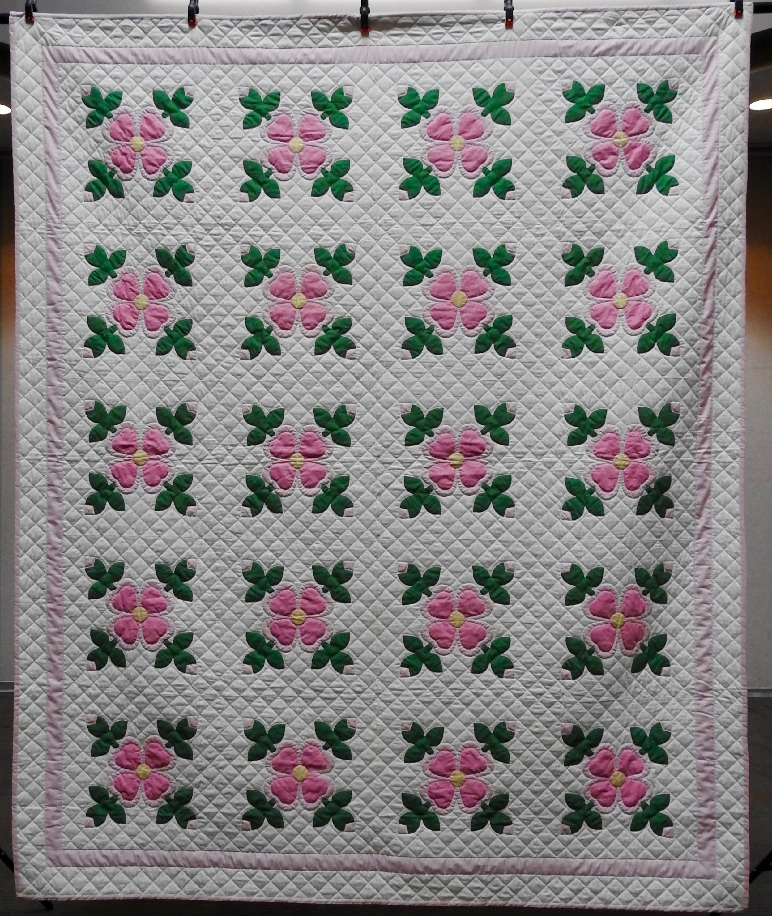 Ohio Rose, Appliquéd & Hand Quilted by Isabel Leipprandt, Signed & Dated, donated by Wayne & Karen Moss, 80 x 86""