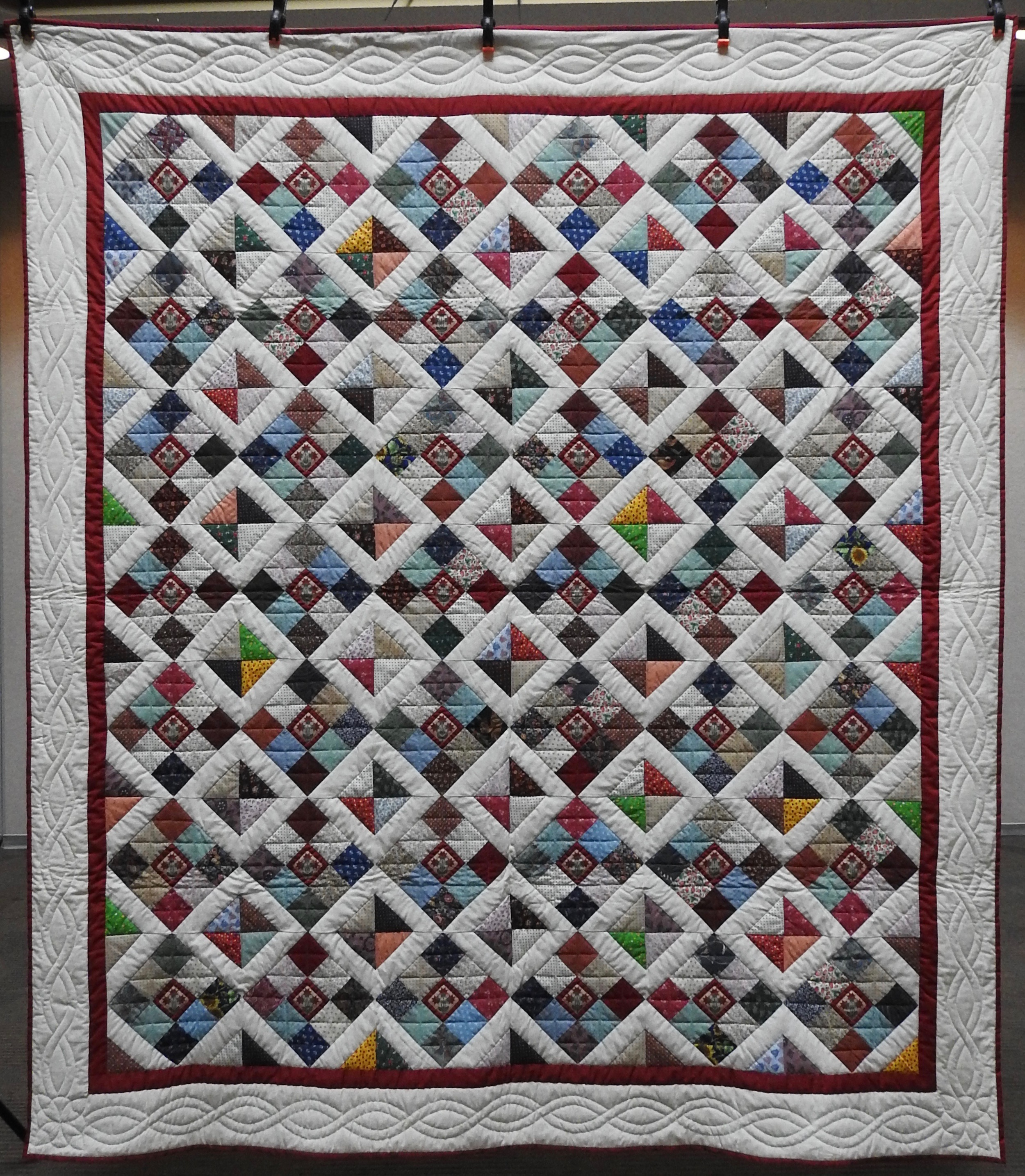 Variable Nine Patch, Pieced & Hand Quilted by Isabel Leipprandt, Signed & Dated, donated by Wayne & Karen Moss, 77 x 88""