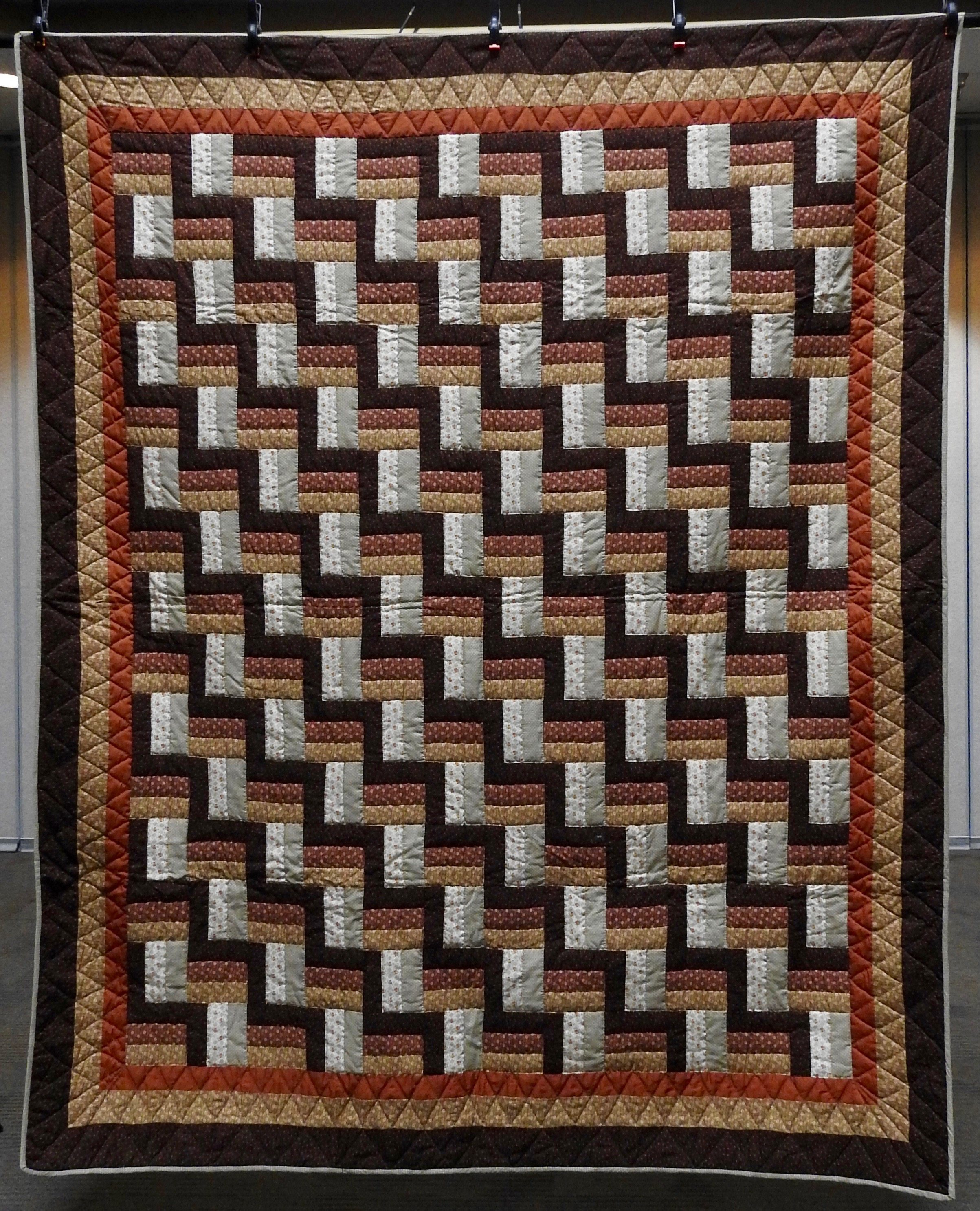 Woodsy Zig Zag 2, Pieced, Hand Quilted, donated by Lias Graber, 77 x 93