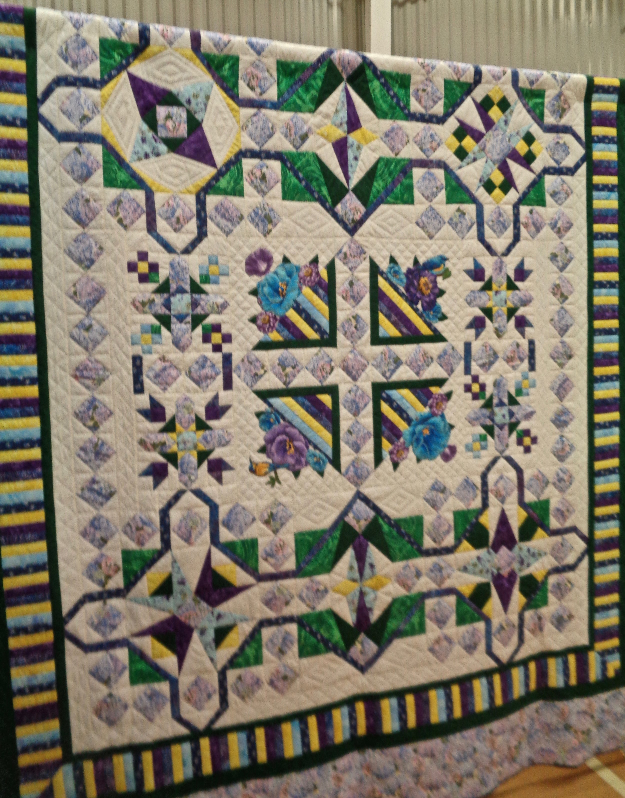 Dazzling Diamonds, Pieced & Hand Quilted by Jane Nussbaum, donated by First Mennonite Church-Berne, 99 x 111""