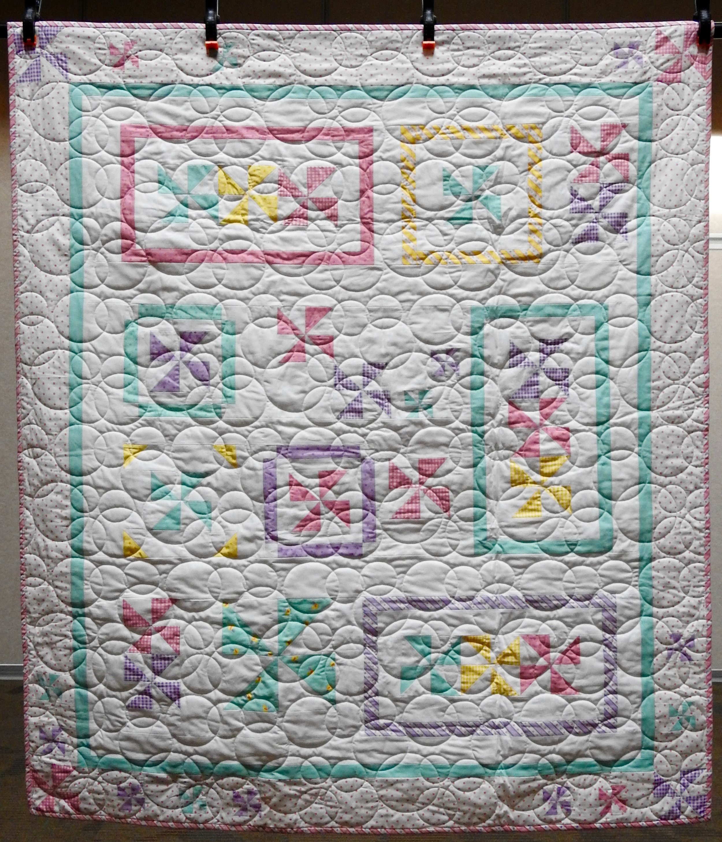 Sweet Dreams, Pieced (Bunny Hill Designs) Edge to edge Machine Quilted, donated by Andrea Elliott, 50 x 58""