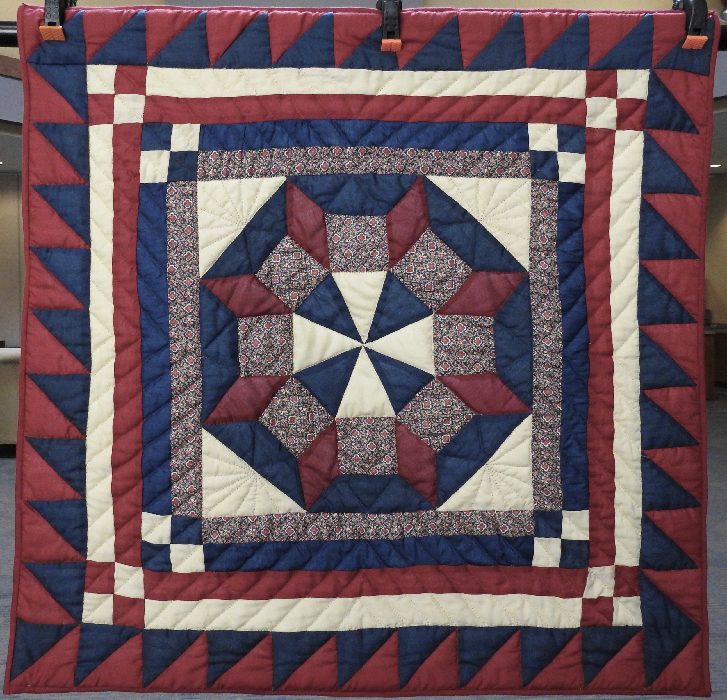My Castle's Wall, Pieced & Hand Quilted by Helen Leichty, donated by Genny Schwartzentruber, 31 x 31""
