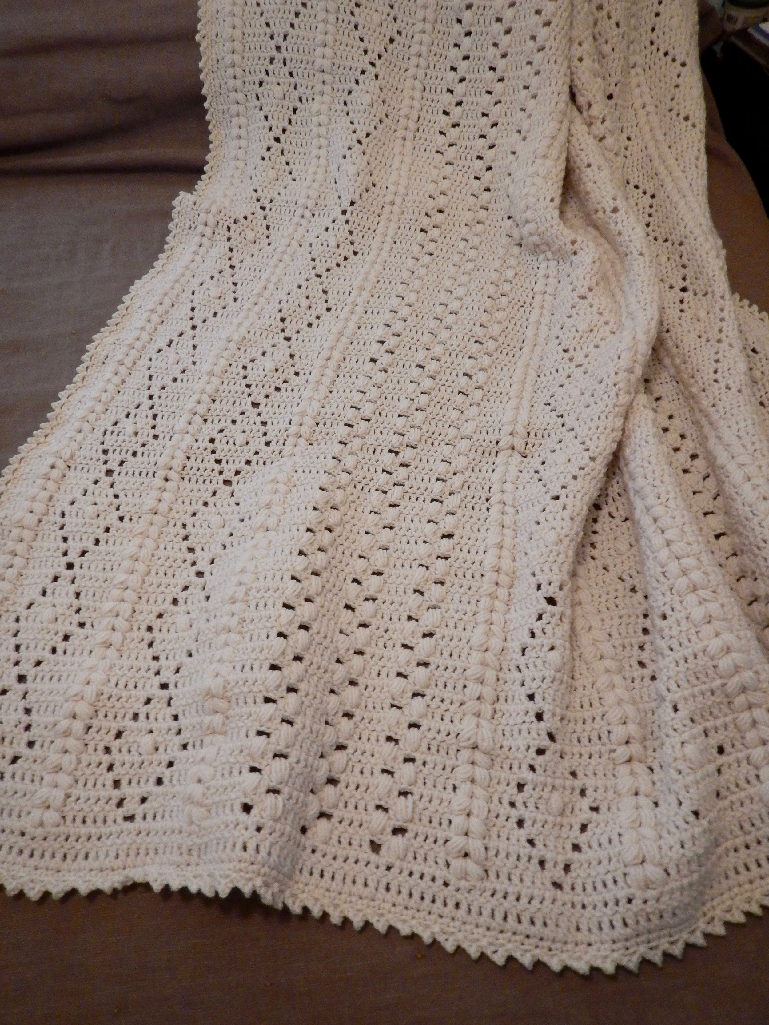 Dots & Diamonds Afghan, Crocheted, donated by Lois Kaufmann-Hunsberger, 54 x 72""
