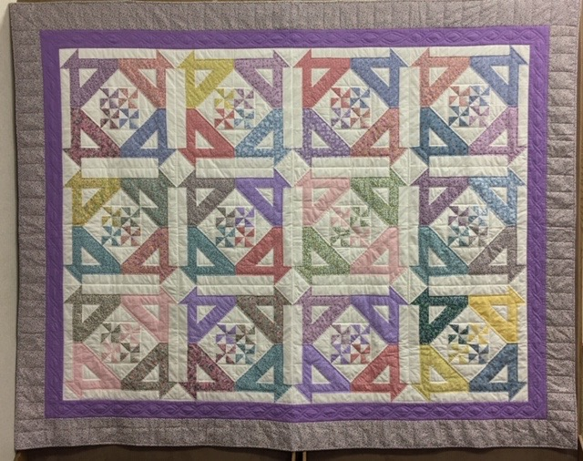 Disappearing Baskets & Pinwheels (Missouri Star pattern), Pieced, Single Needle Hand Quilted, donated by Silverwood Mennonite Women, 80 x 99""