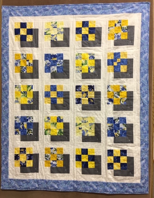 Shadow Boxes in My Window Comforter, Pieced, Decatur Knotted, donated by Silverwood Mennonite Women, 47 x 60""