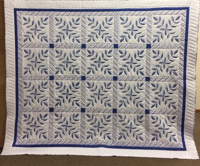 Blue Laurel Leaf, Pieced, Hand Embroidered by Adele Reichert, Single Needle Hand Quilted, donated by Silverwood Mennonite Women, 90 x 108""