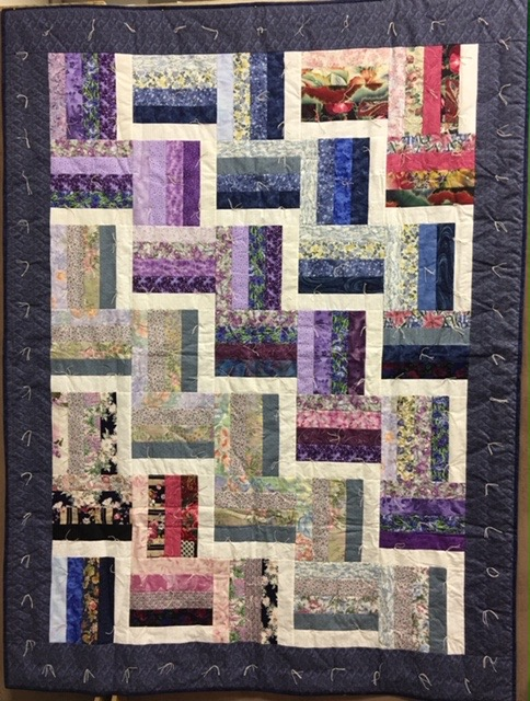 Cascading Rail Fences Comforter, Pieced, Knotted, Donated by Silverwood Mennonite Women, 61 x 81""