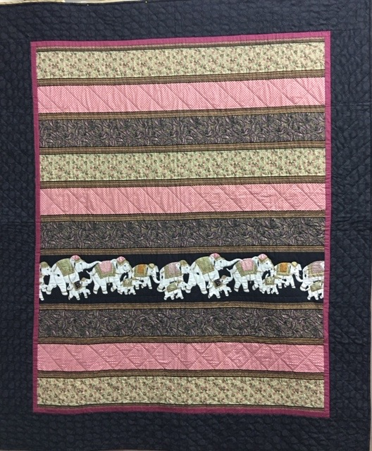 March of the Elephants, Pieced, Single Needle Hand Quilted, Silverwood Mennonite Women, 60 x 72""