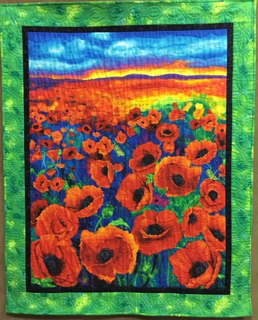 Poppies Forever, Wall Quilt-Single Needle Hand Quilted, Silverwood Mennonite Women, 41 x 51""