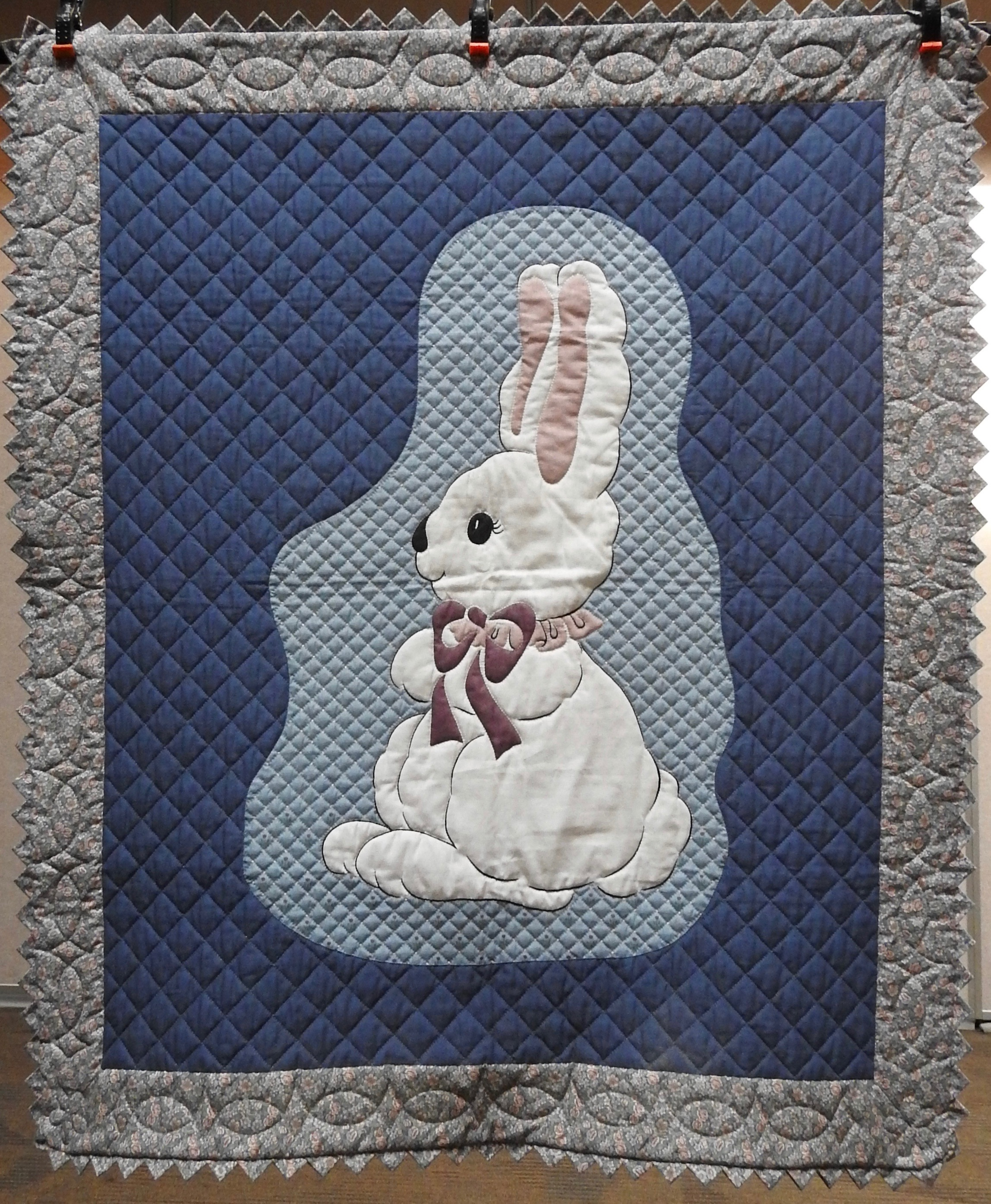 Rabbit Wall Quilt, Designed by Karen Moss, Appliquéd and Hand Quilted by Isabel Leipprandt, donated by Wayne & Karen Moss, 45 x 52""