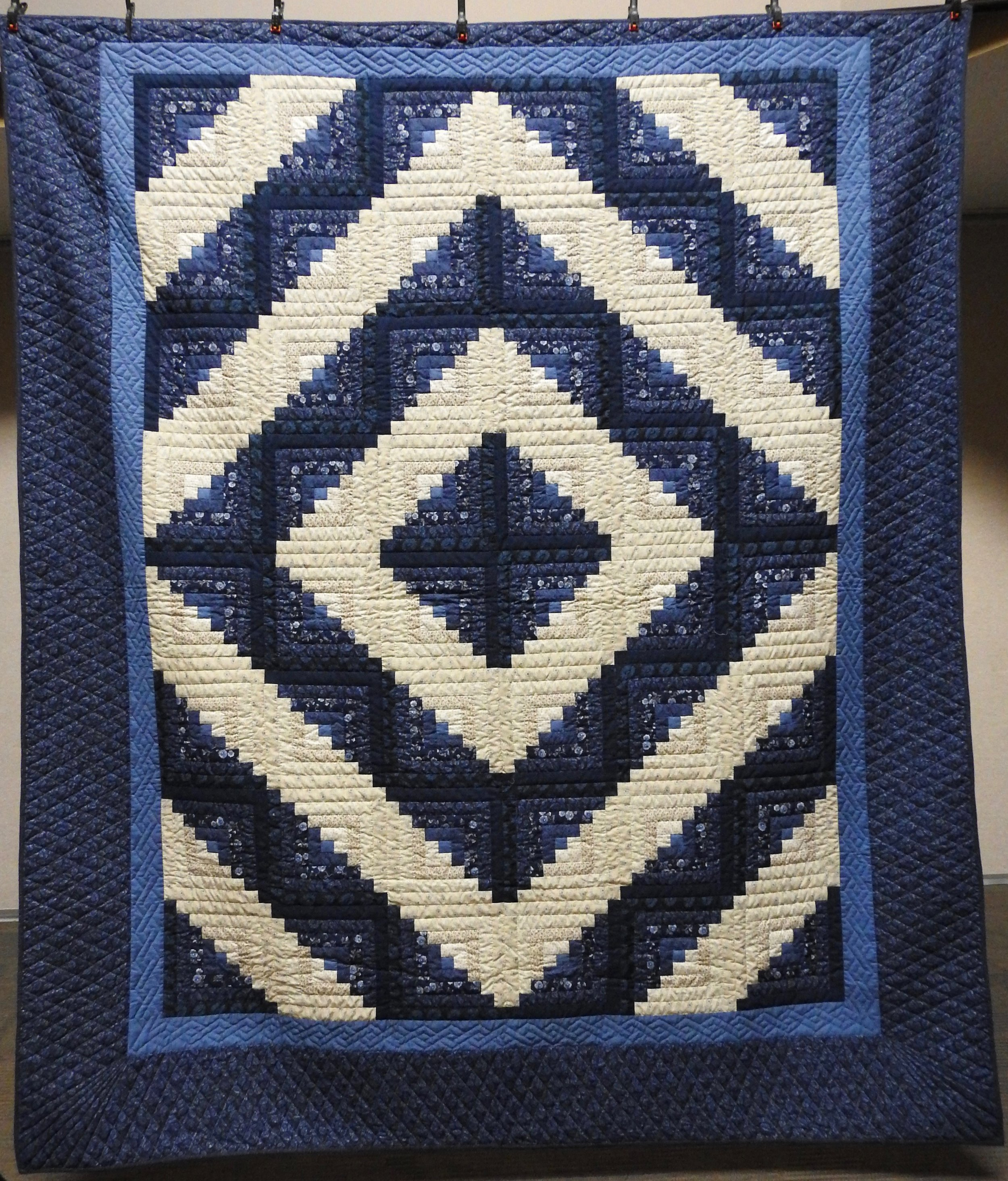 Blue Log Cabin, Pieced, Hand Quilted, Clinton Frame Church, 96 x 110""