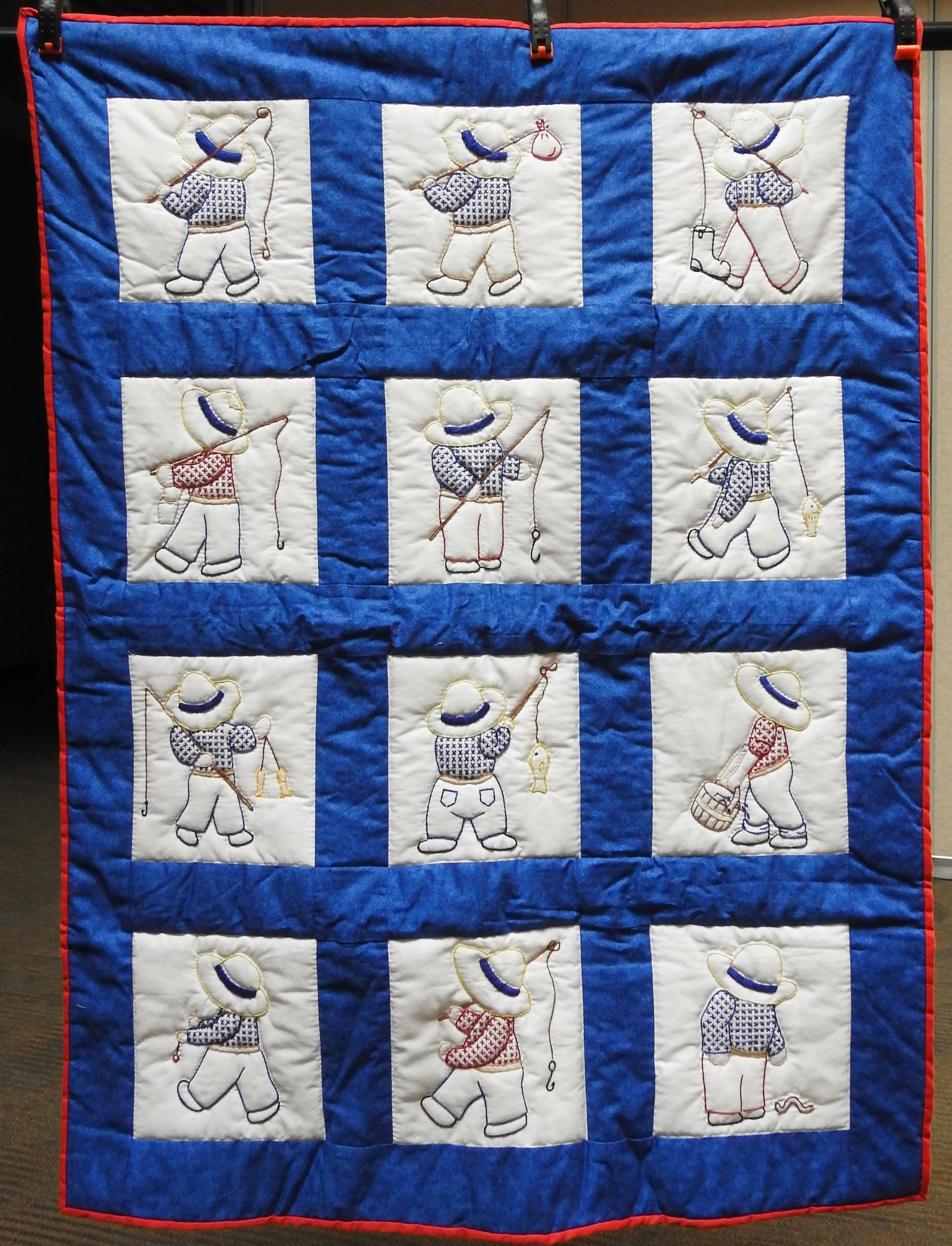 Overall Sam Goes Fishing Baby Quilt, Pieced, Embroidered, Hand Quilted, Flannel Back, Clinton Frame Church, 35 x 46""