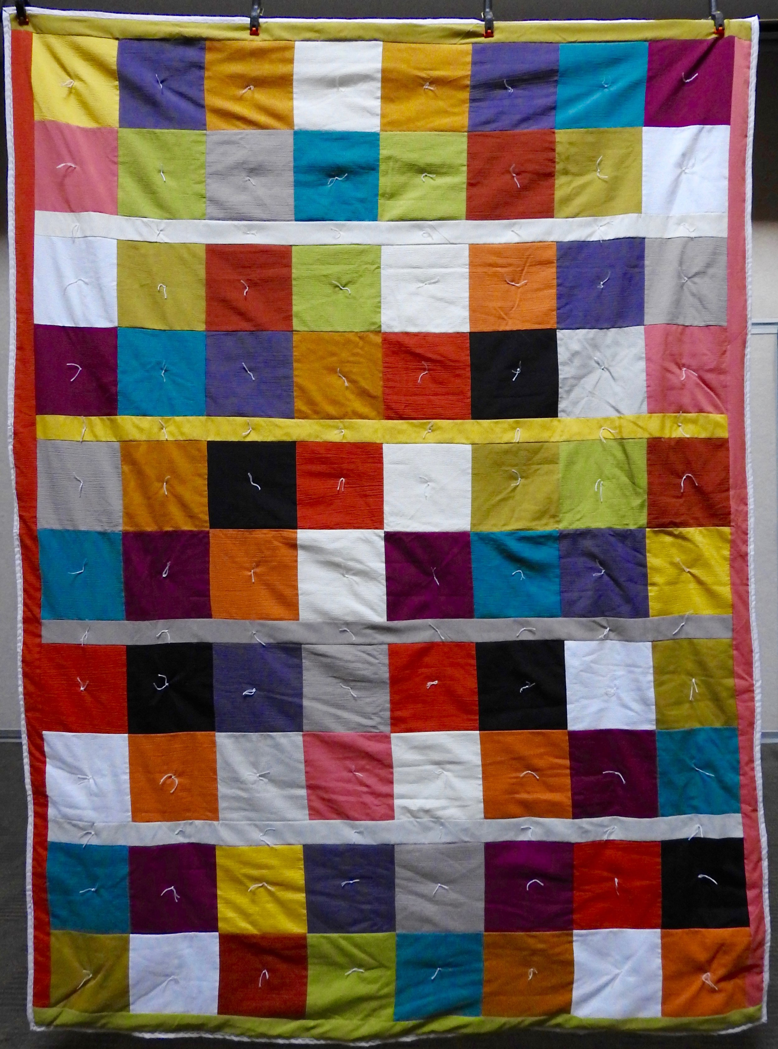 Scrappy Squares Comforter, Pieced of 50's Fabrics, Knotted, Clinton Frame Church, 68 x 92""