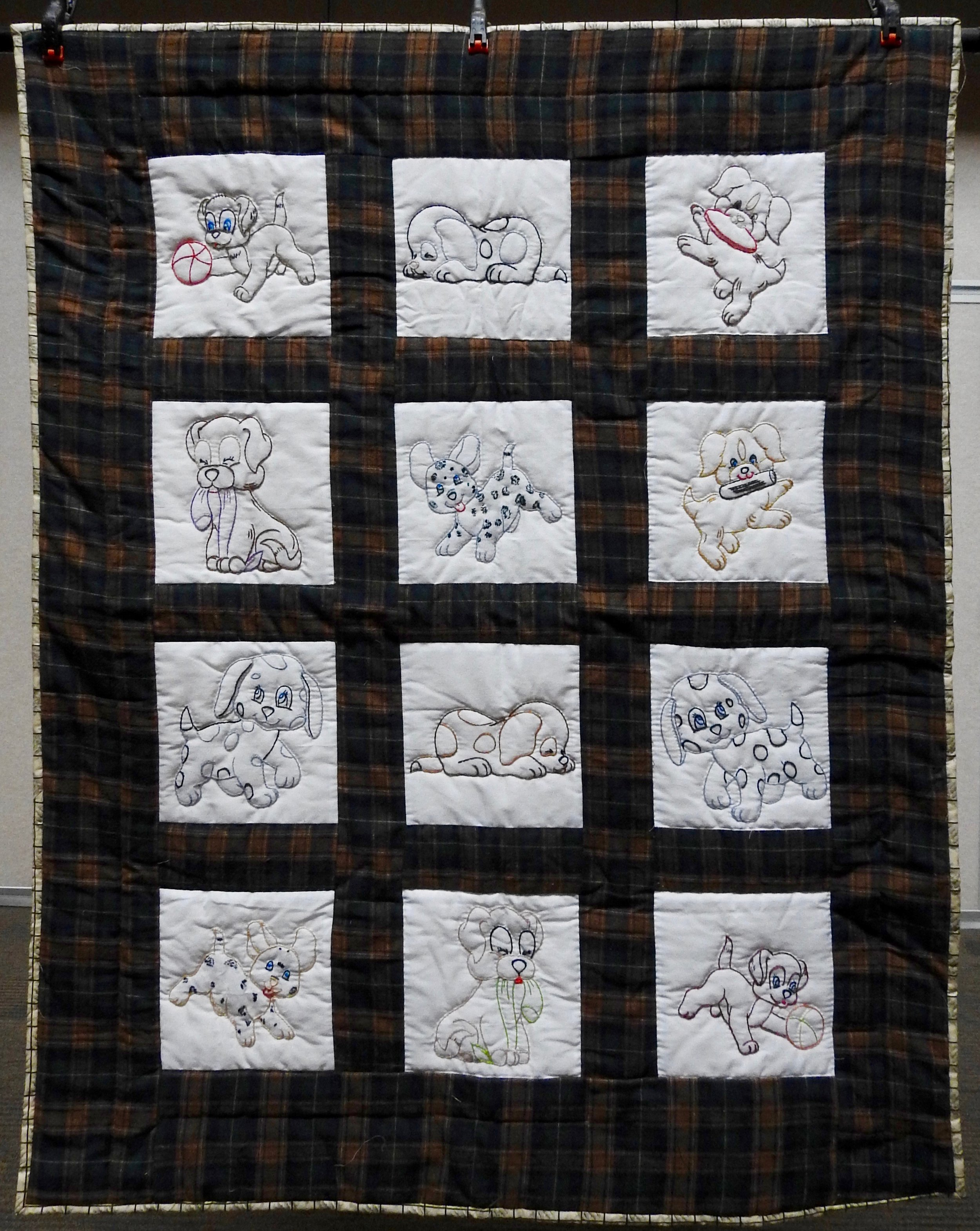 Puppy Love Baby Quilt, Pieced, Embroidered, Hand Quilted, Clinton Frame Church, 41 x 51""