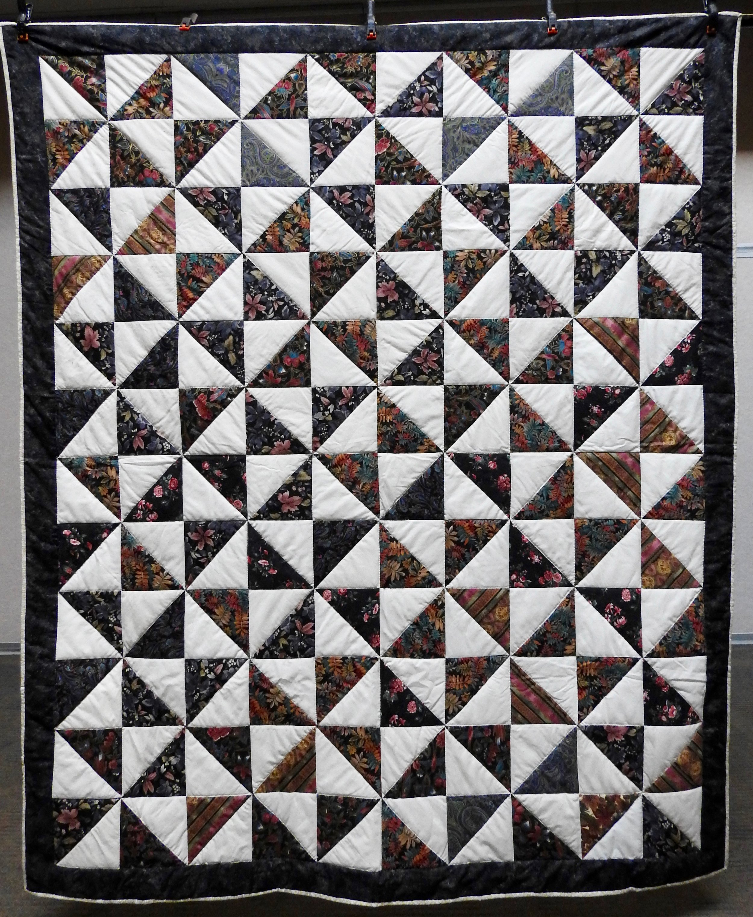Pinwheels, Pieced, Hand Quilted, Clinton Frame Church, 68 x 80""