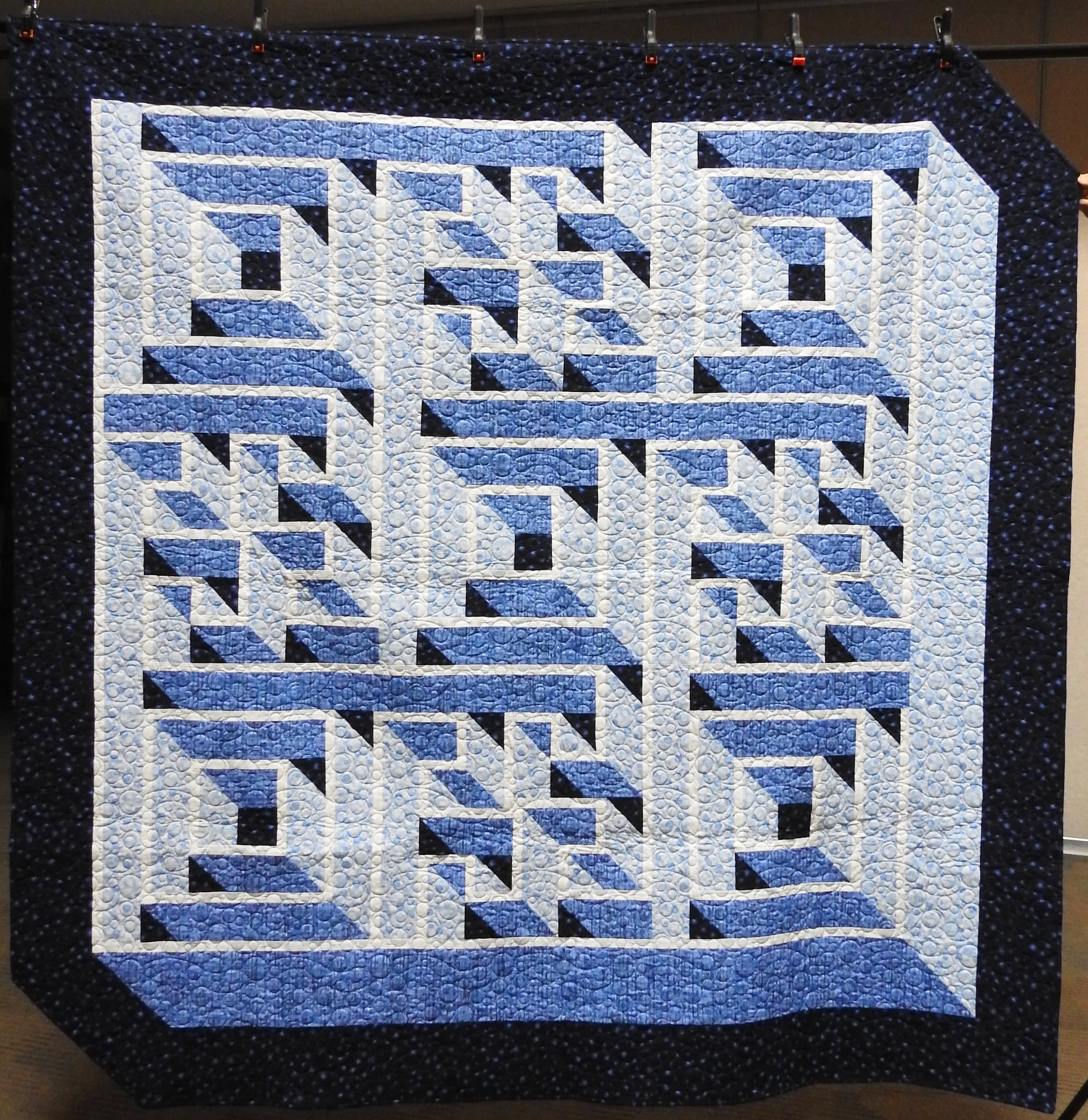 Labyrinth, Pieced by Ruby Bontreger, Edge to Edge Machine Quilted, Signed & Dated, donated by First Mennonite, Middlebury, 83 x 83""